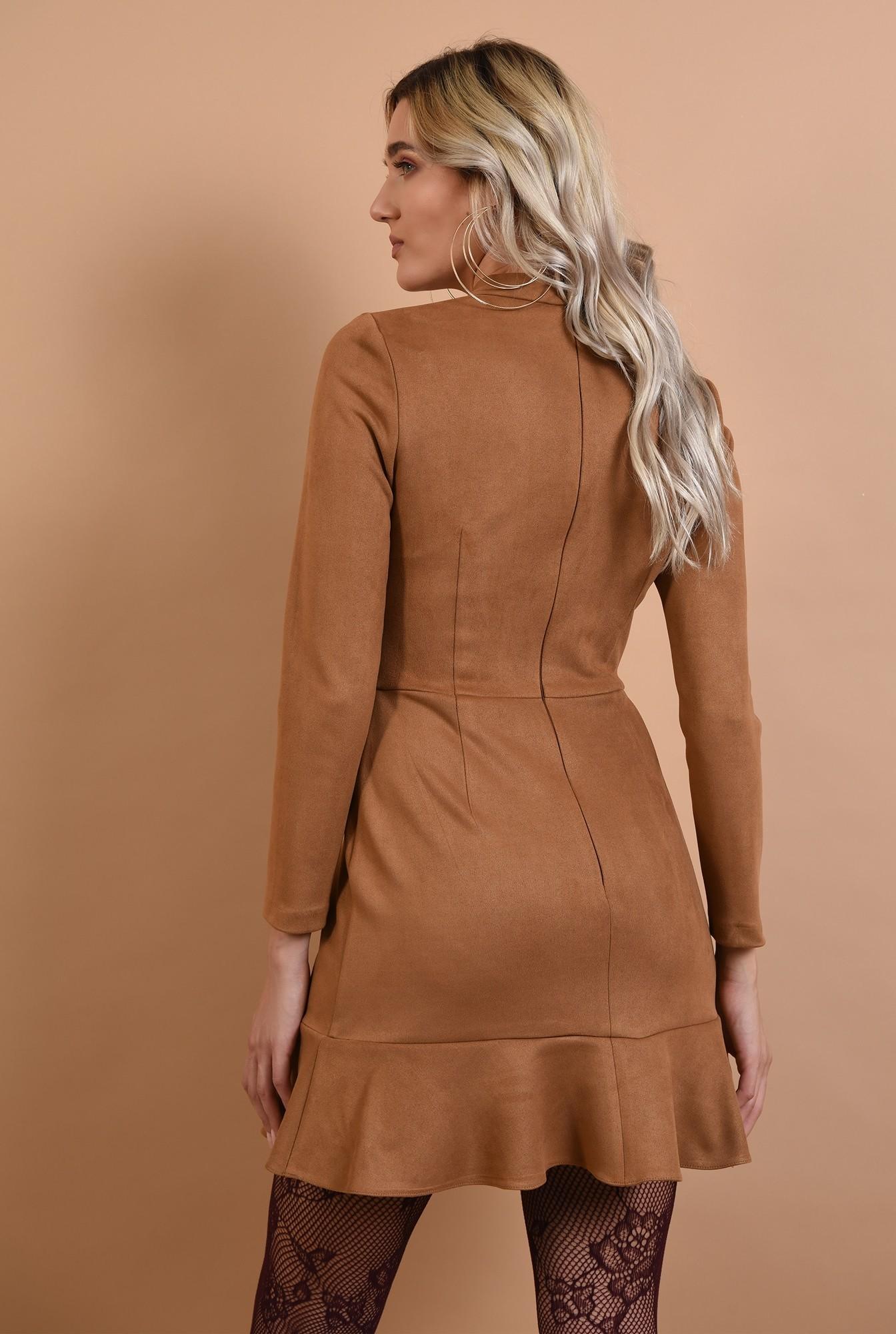 1 - 360 - rochie din piele intoarsa, scurta, Poema, guler, maneci lungi, volan