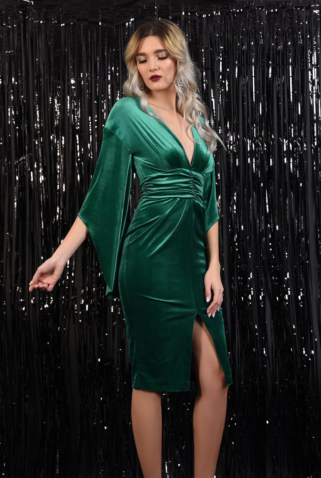 3 - rochie de seara, brau fronsat, maneci liliac, anchior