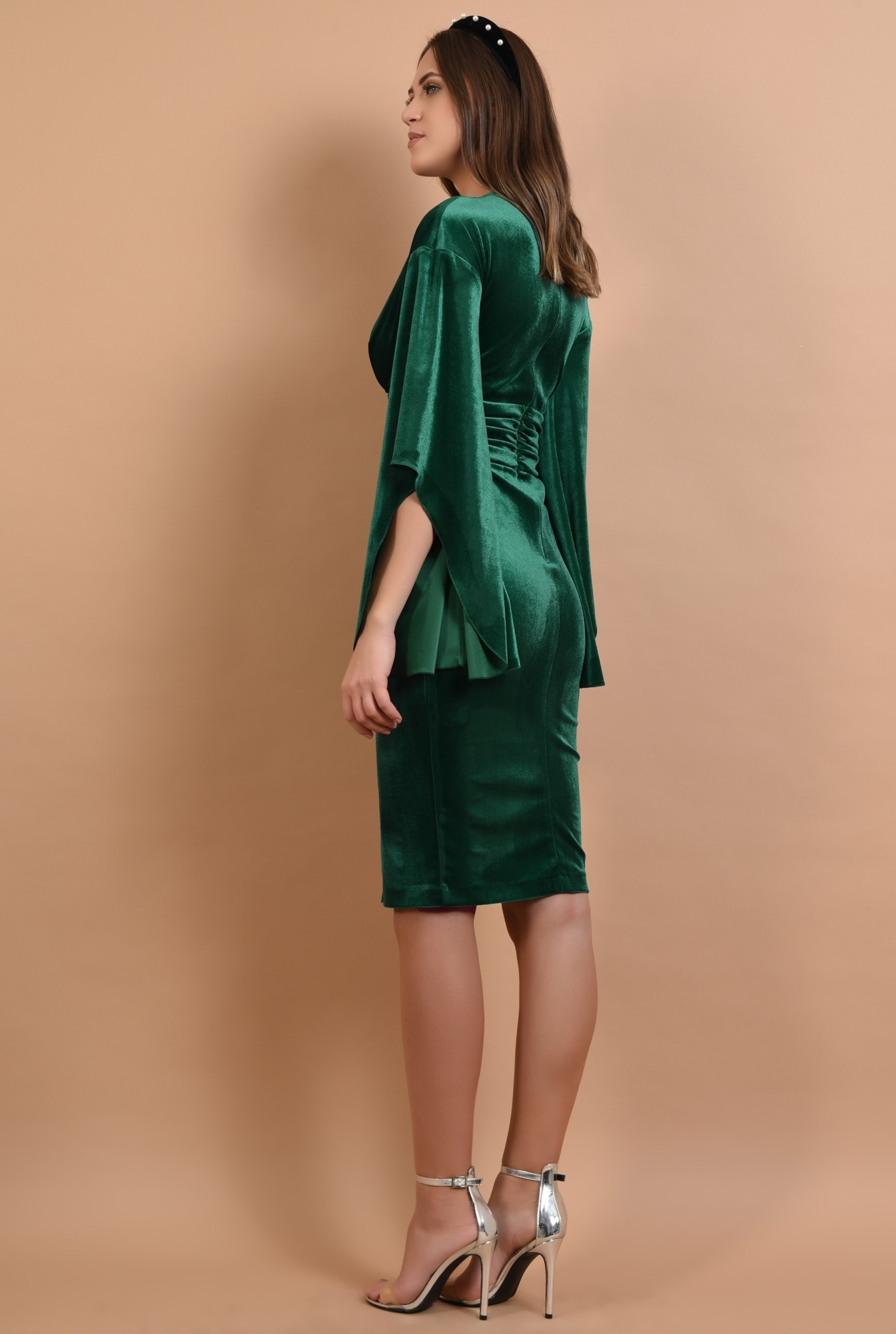 1 - rochie de seara, brau fronsat, maneci liliac, anchior