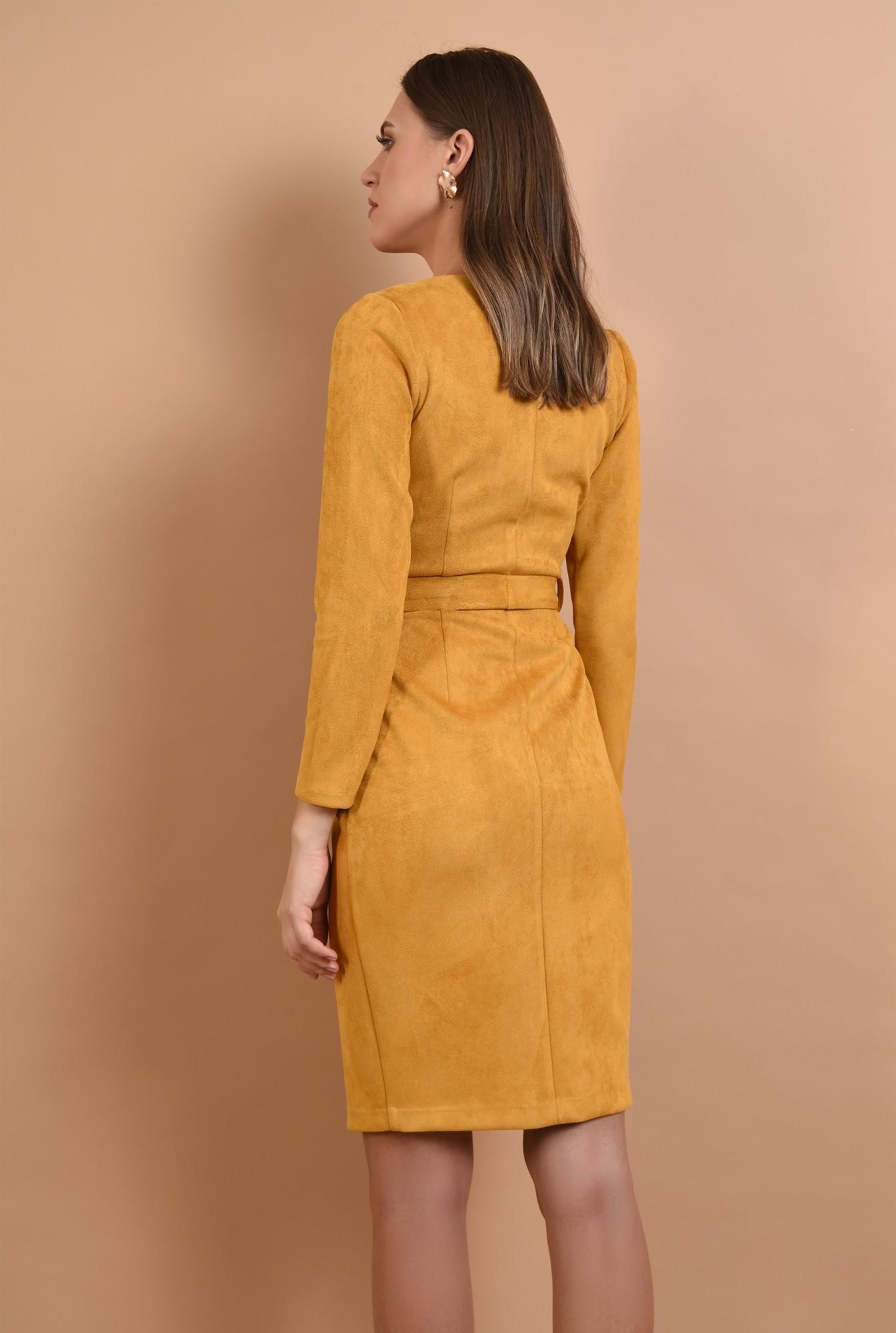 1 - 360 - rochie Poema, piele intoarsa, mustar, cu cordon, anchior