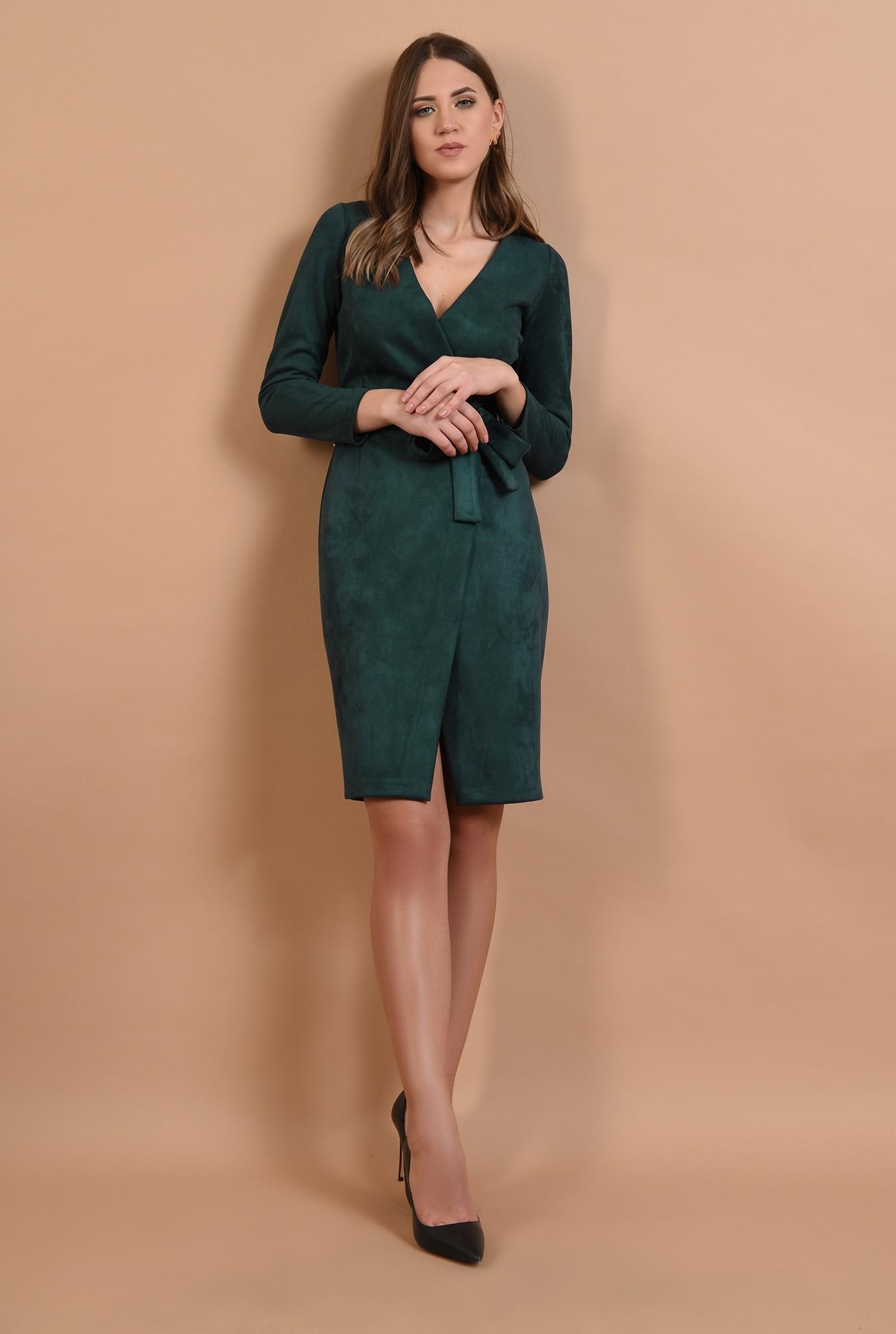 0 - rochie casual, piele intoarsa, midi, petrecuta, cordon