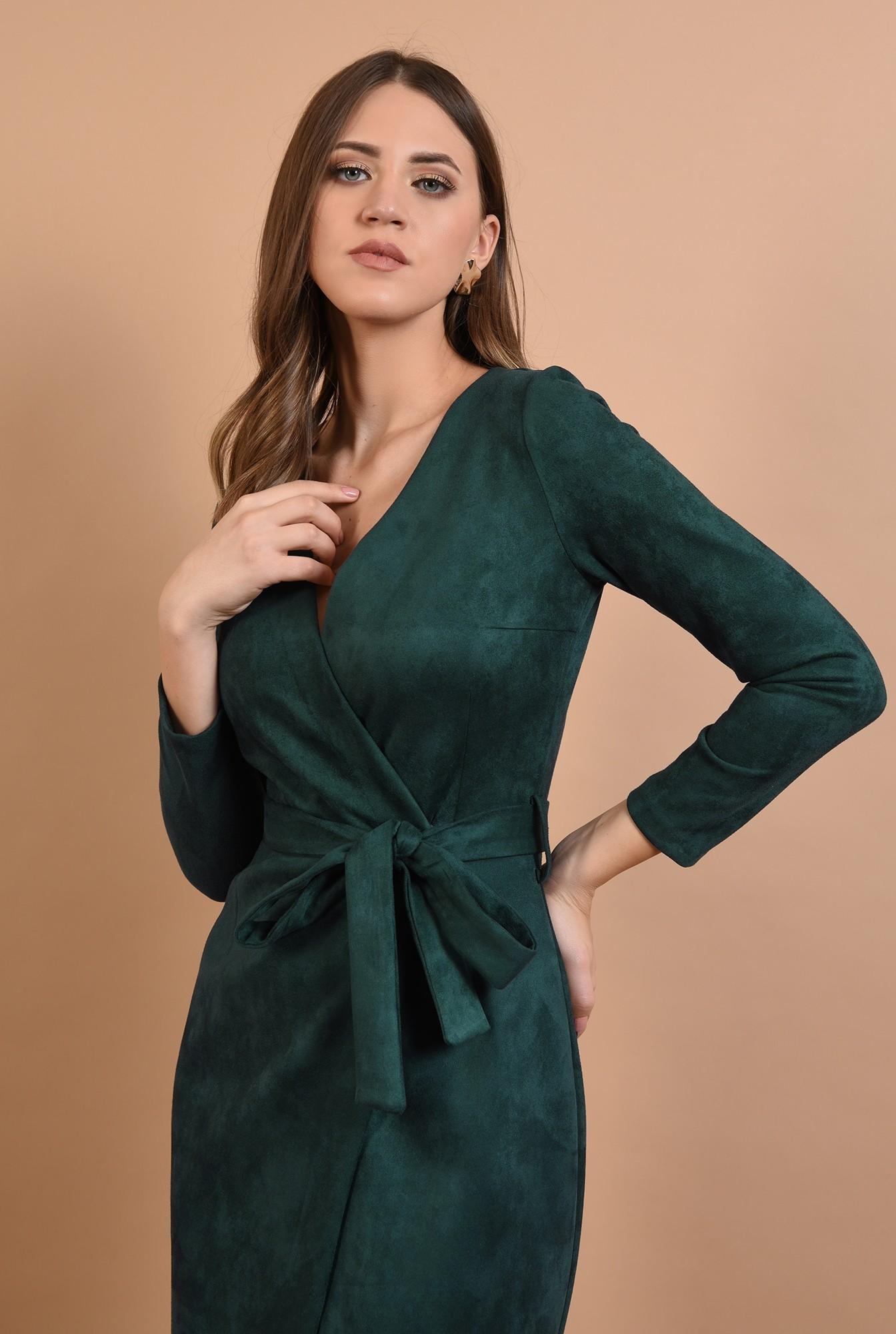 2 - rochie casual, piele intoarsa, midi, petrecuta, cordon