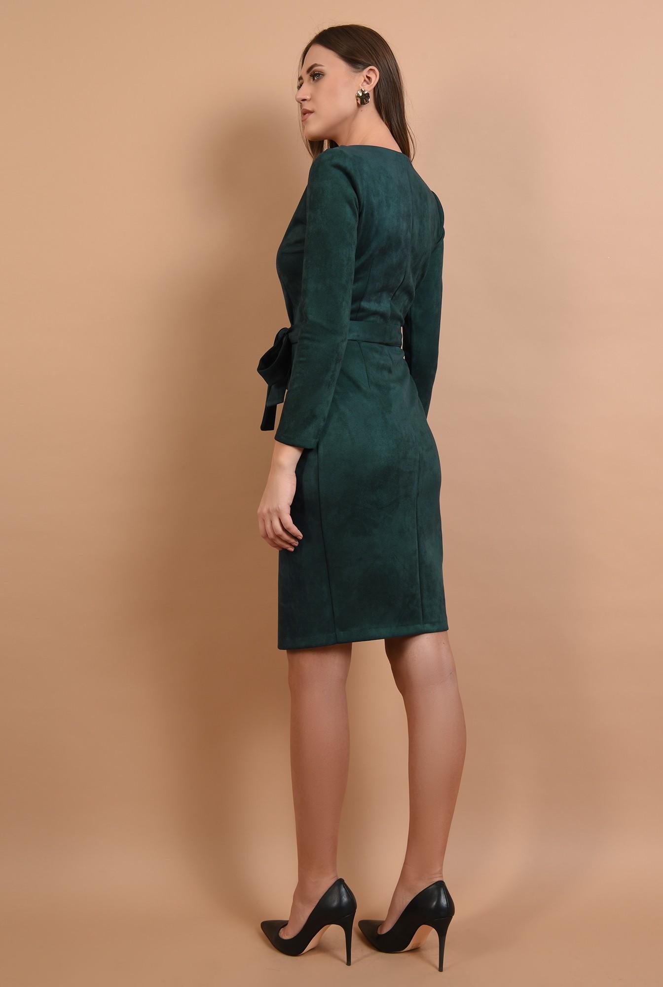 1 - rochie casual, piele intoarsa, midi, petrecuta, cordon