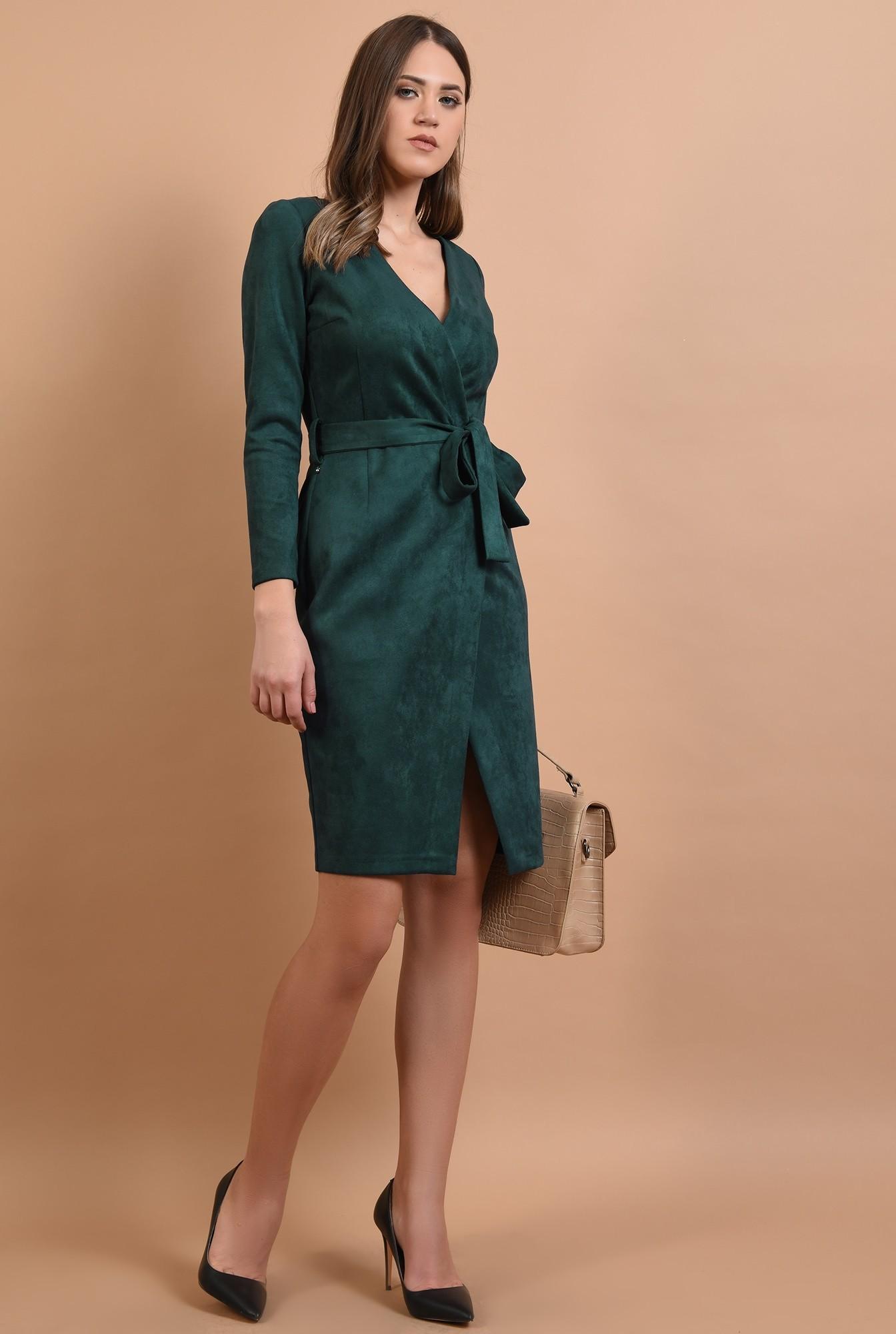 3 - rochie casual, piele intoarsa, midi, petrecuta, cordon