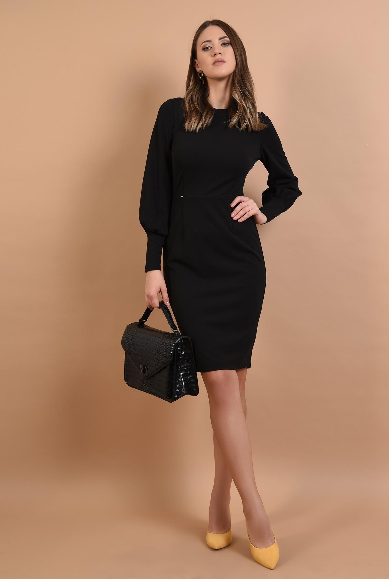 3 - rochie neagra, midi, cambrata, maneci lungi, croi conic