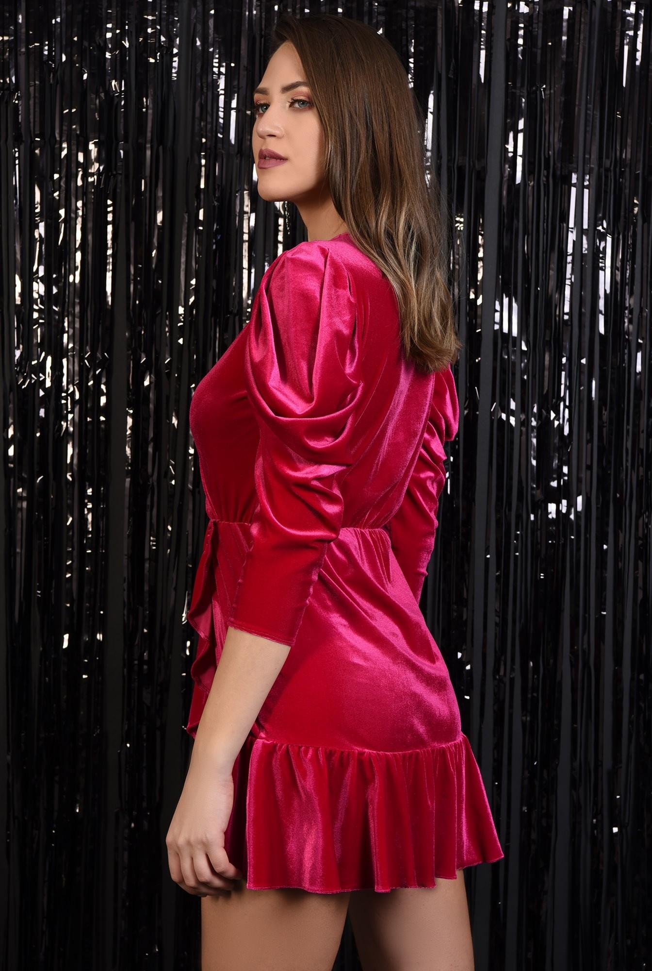 1 - rochie eleganta, din catifea, petrecuta, cu volan