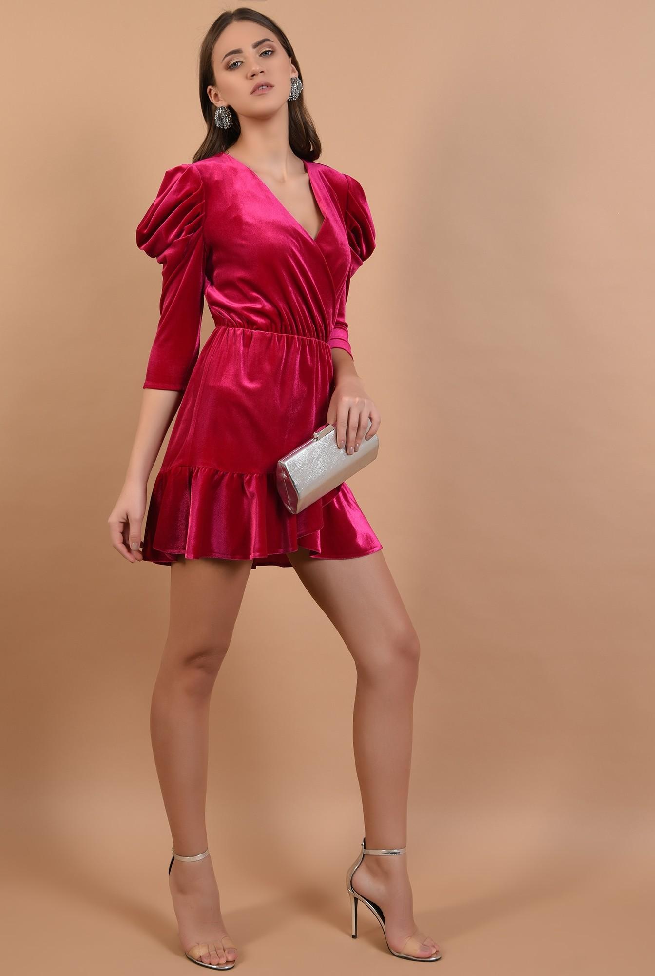 3 - 360 - rochie eleganta, din catifea, petrecuta, cu volan