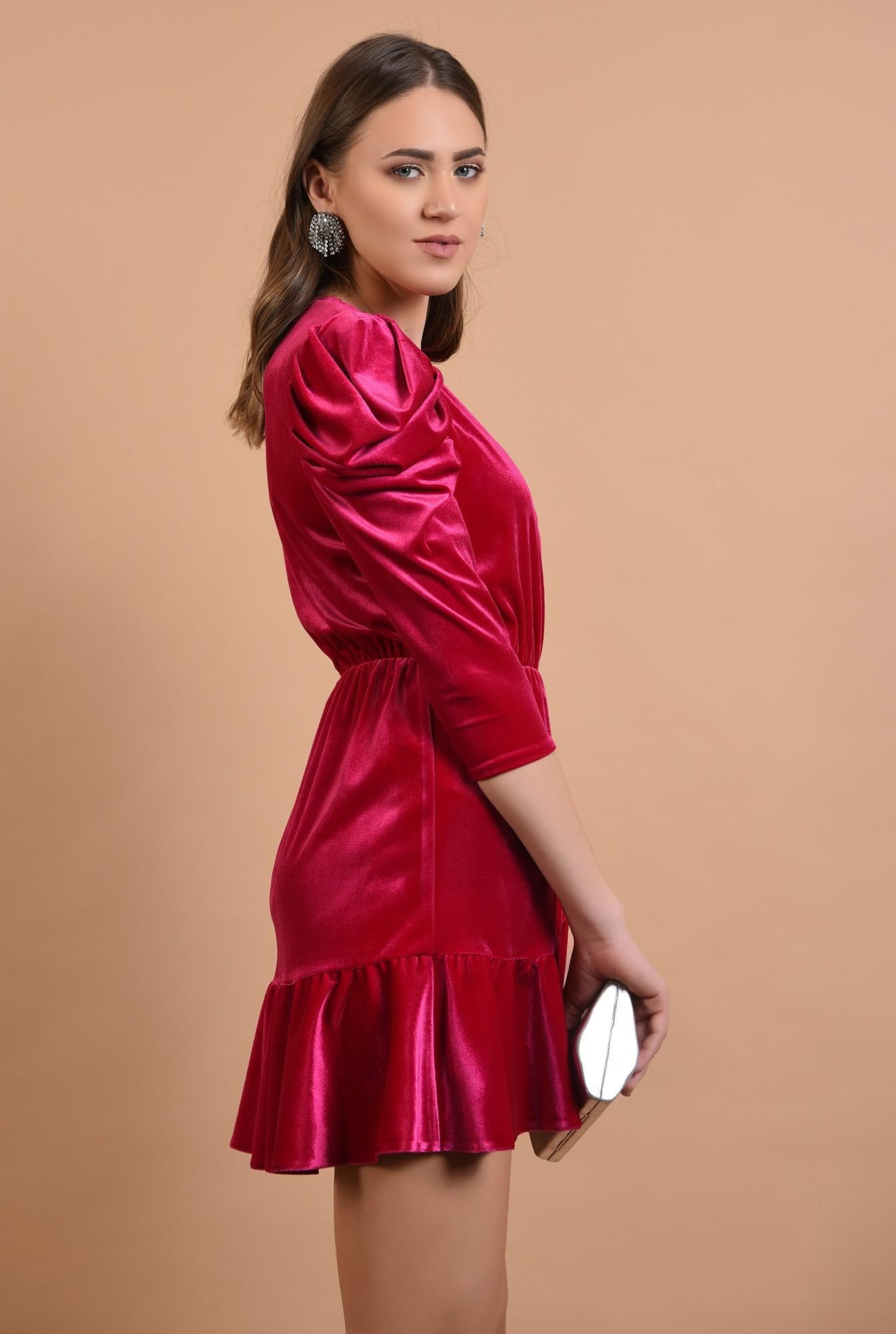 2 - 360 - rochie eleganta, din catifea, petrecuta, cu volan