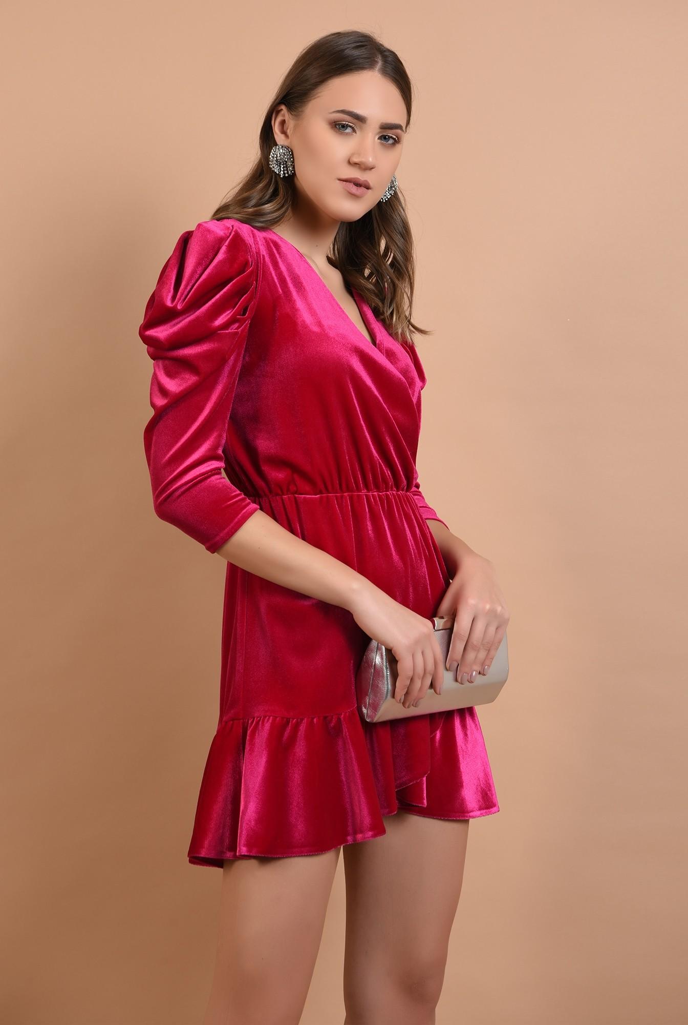 0 - 360 - rochie eleganta, din catifea, petrecuta, cu volan