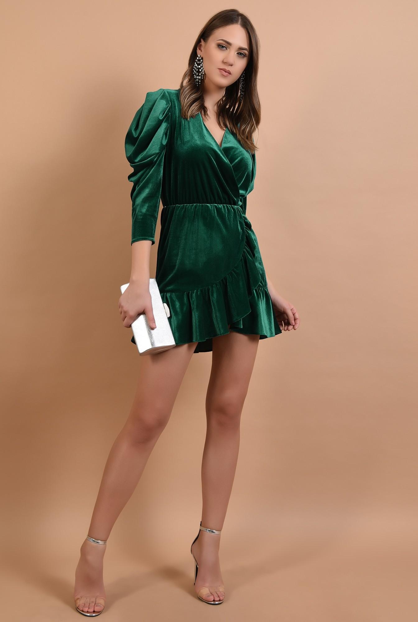 3 - 360 - rochie de ocazie, din catifea, verde, mini, cu volan