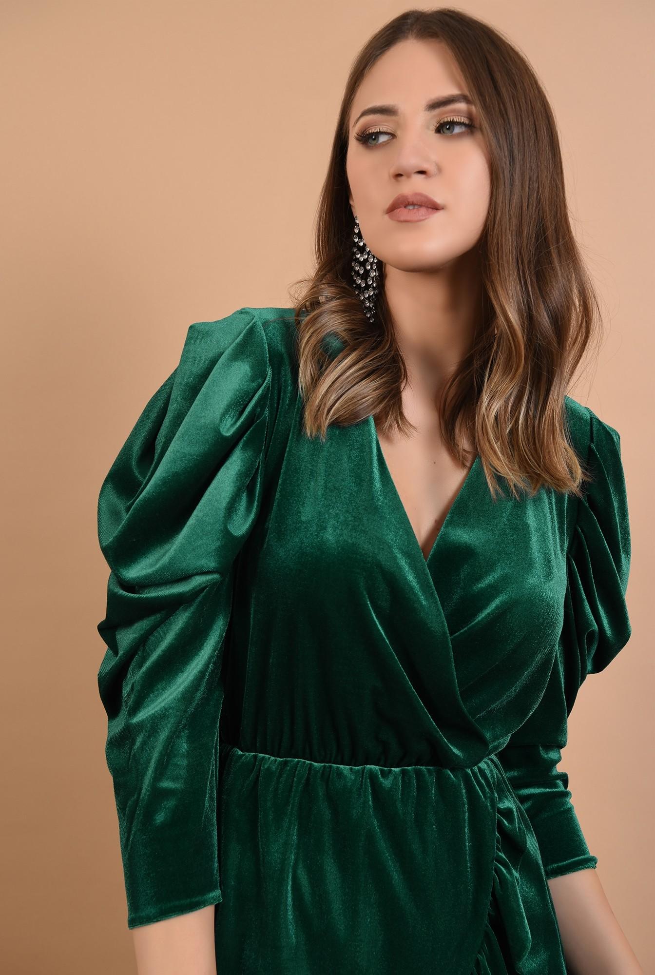 2 - 360 - rochie de ocazie, din catifea, verde, mini, cu volan