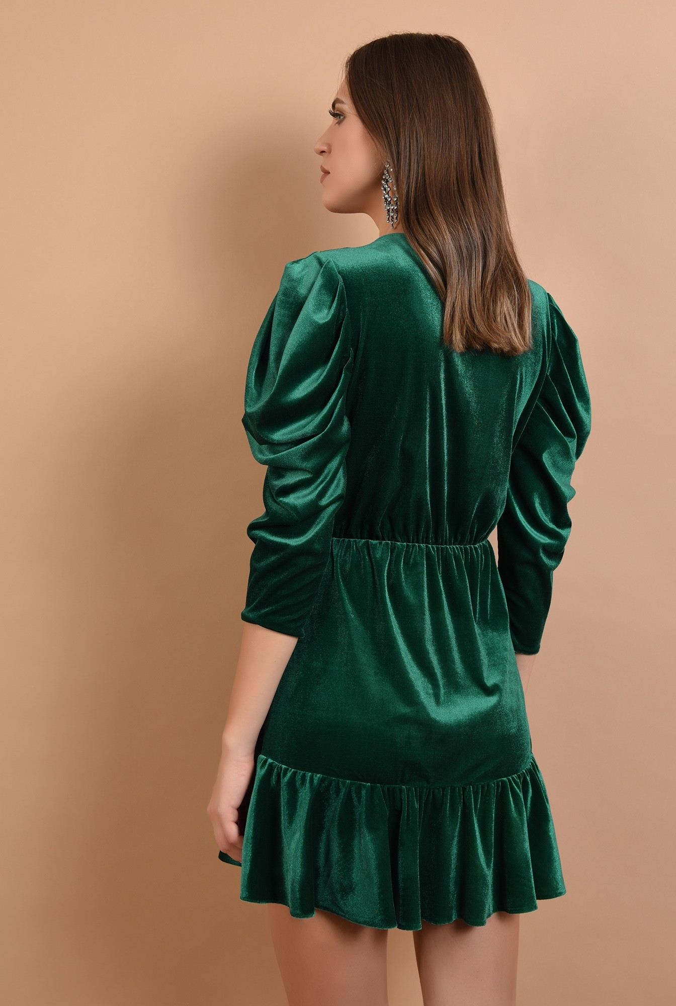 1 - 360 - rochie de ocazie, din catifea, verde, mini, cu volan