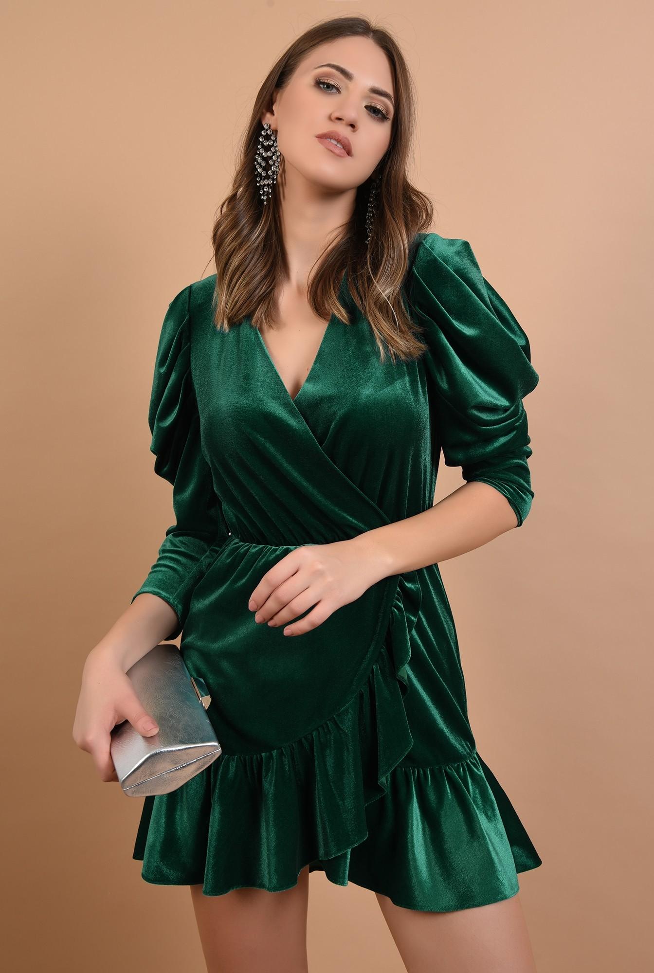 0 - 360 - rochie de ocazie, din catifea, verde, mini, cu volan