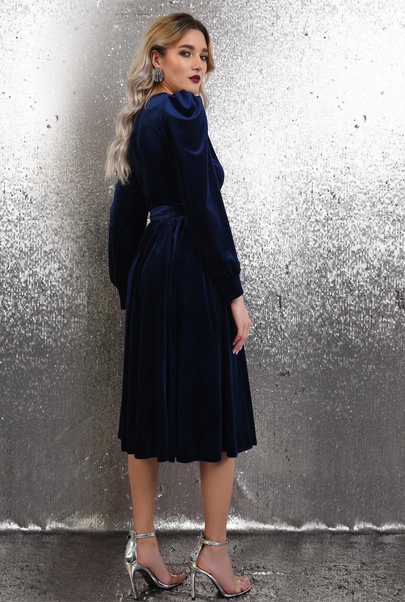 1 - rochie eleganta, midi, evazata, cu cordon, maneci lungi