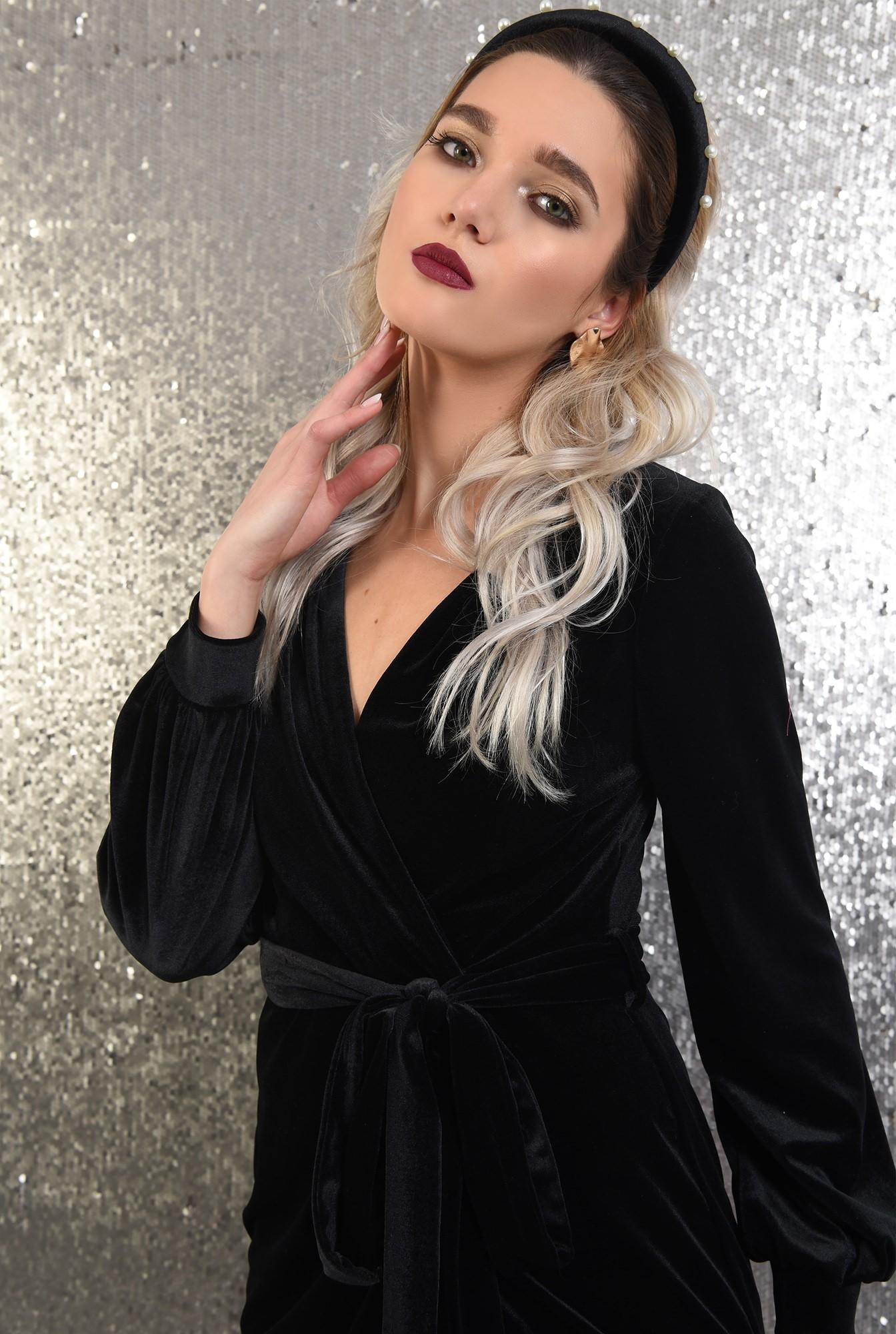 2 - rochie Poema, din catifea, de ocazie, scurta, cu cordon, neagra