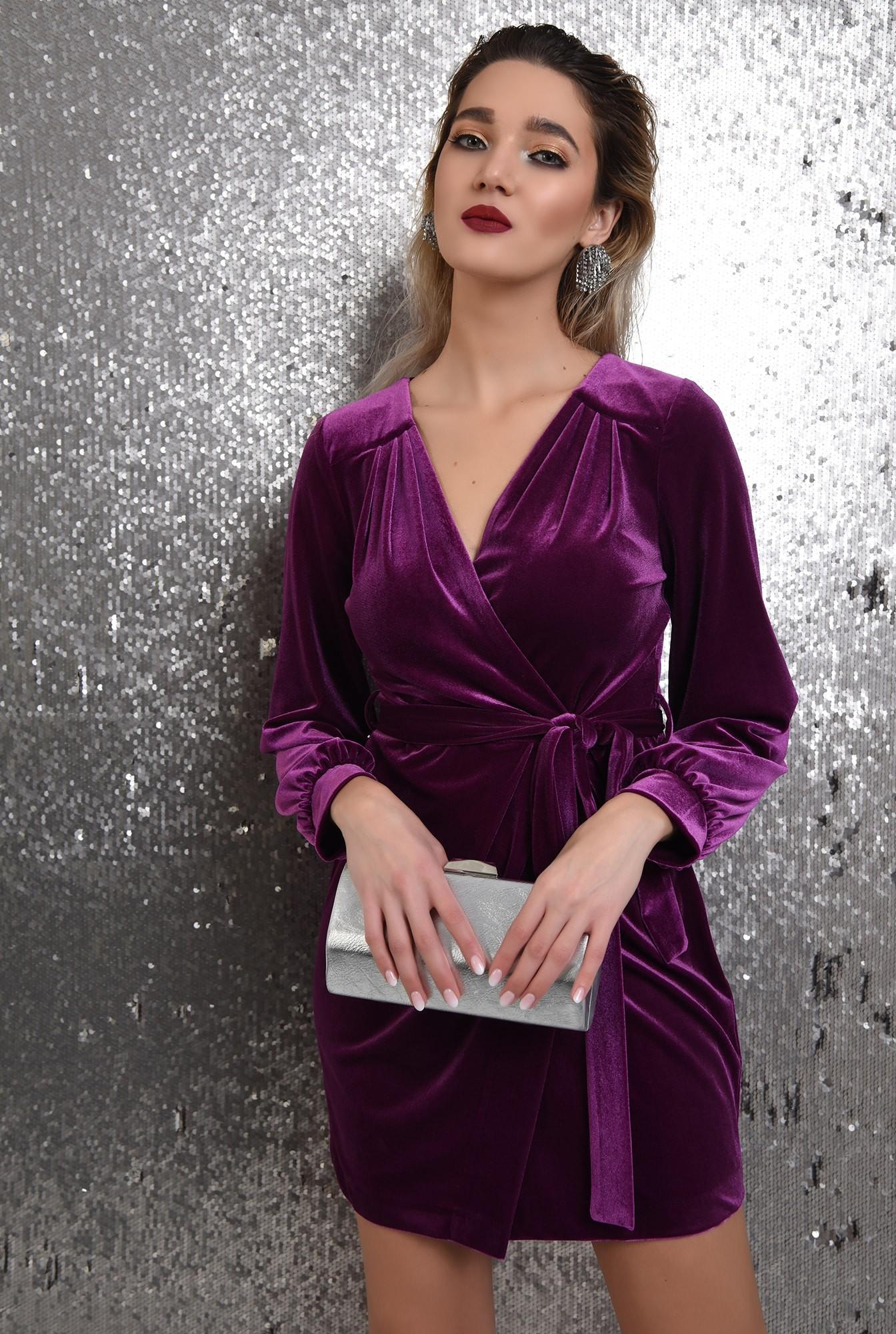 0 - rochie din catifea, mov, cordon, rochie eleganta, Poema