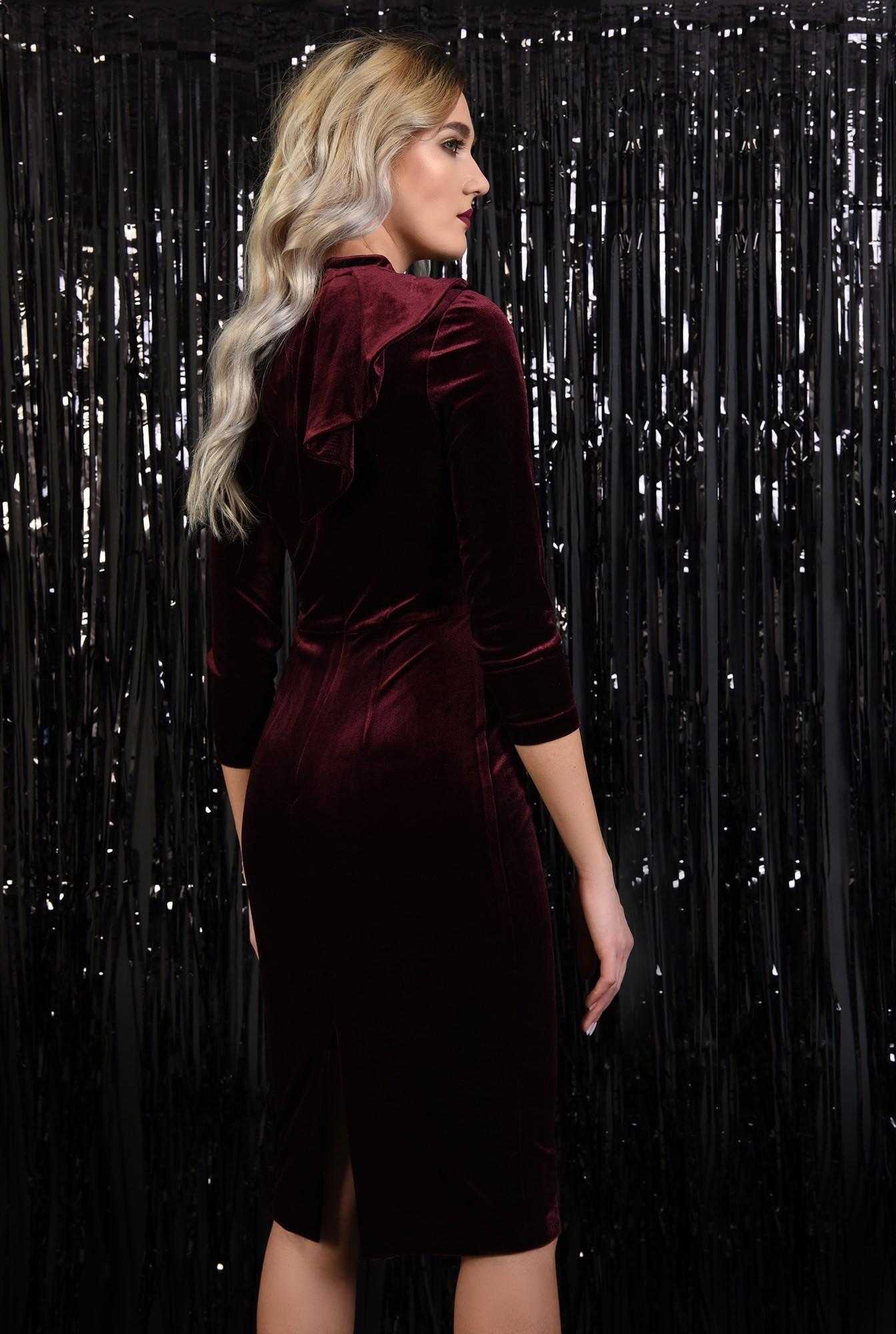 1 - 360 - rochie eleganta, din catifea, bordo, conica, cu volan evantai