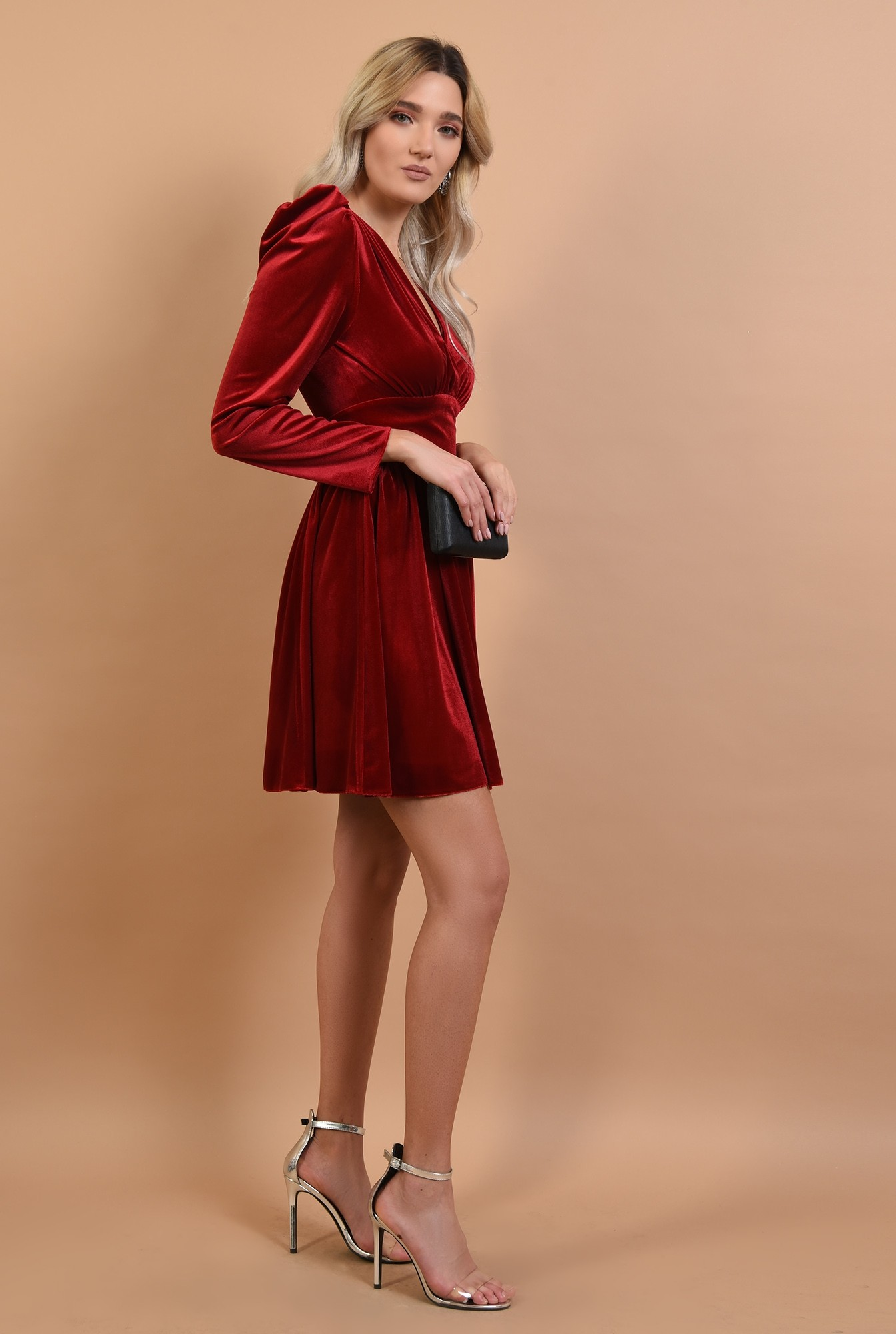3 - rochie Poema, de seara, din catifea, rosie, clos, anchior petrecut