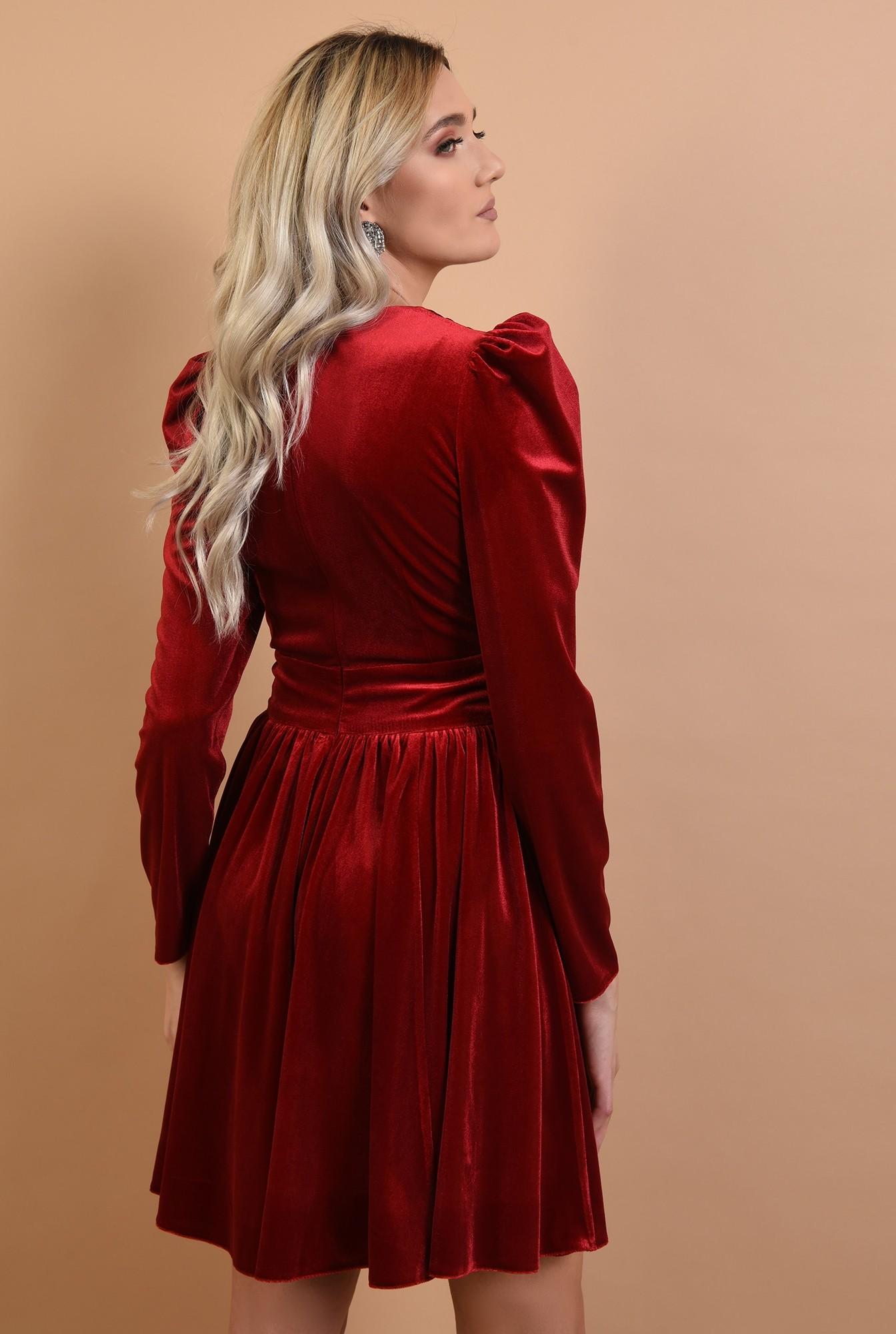 1 - rochie Poema, de seara, din catifea, rosie, clos, anchior petrecut