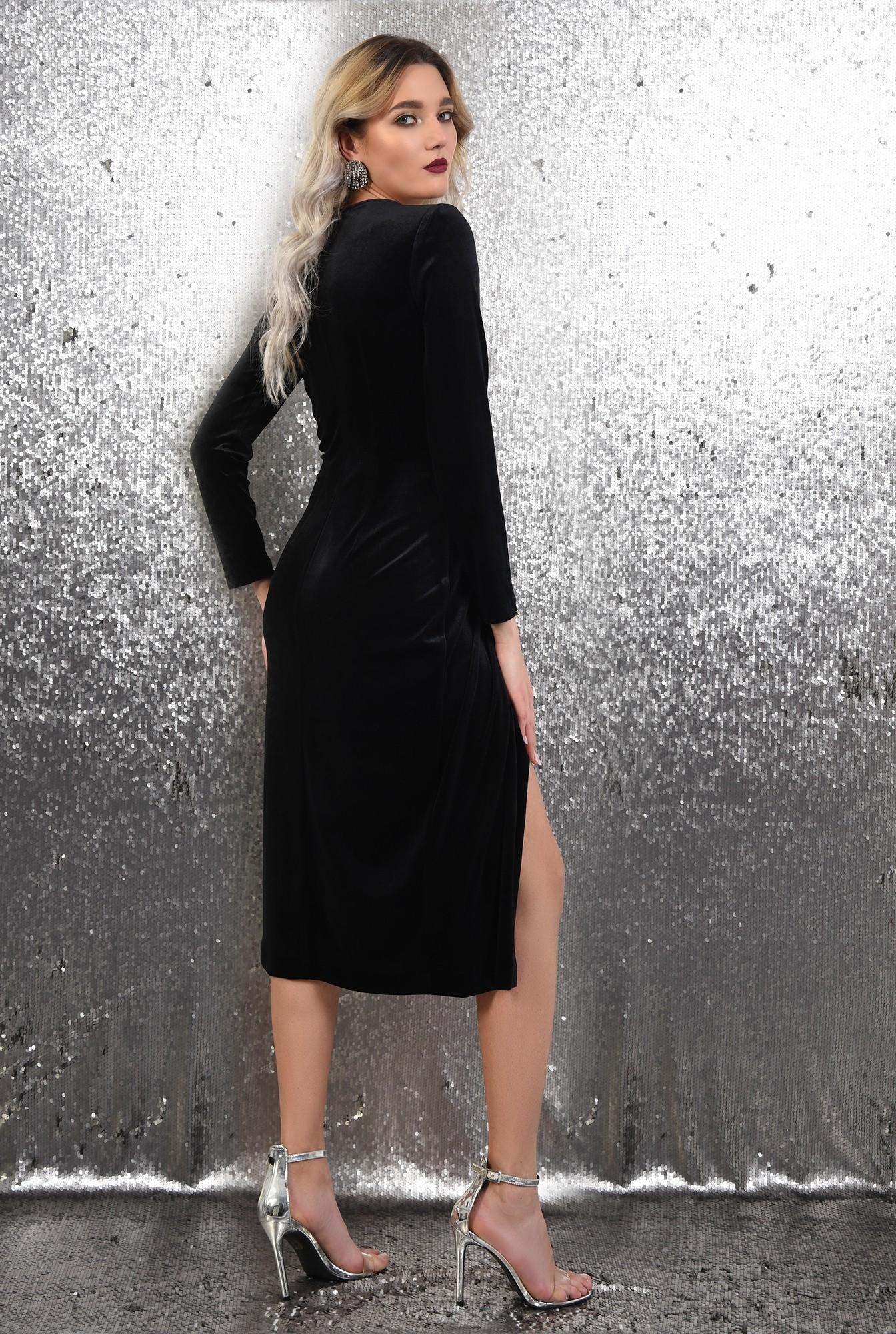 1 - 360 - rochie de ocazie, Poema, midi, petrecuta, catifea, negru