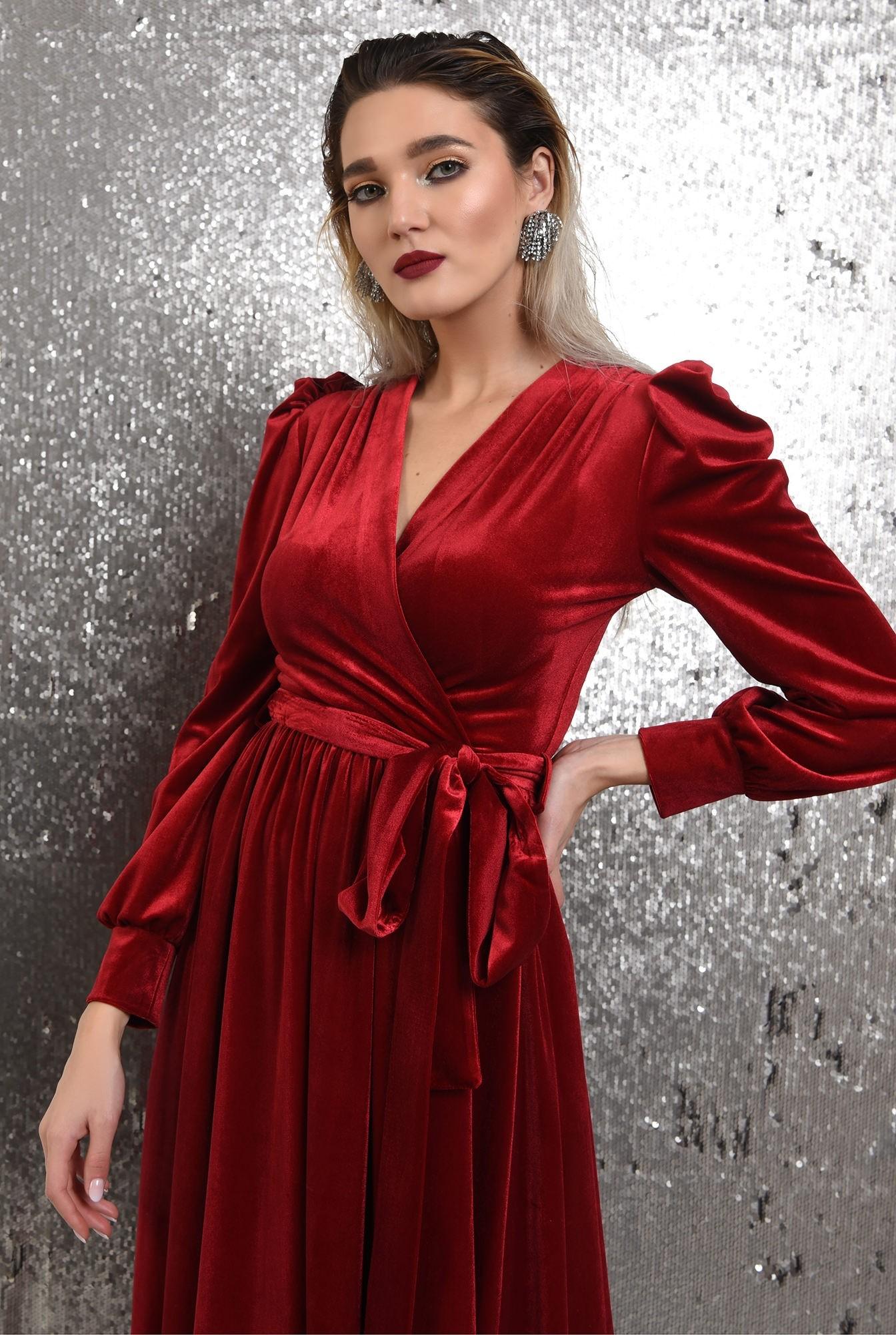 2 - rochie rosie, de catifea, eleganta, cu cordon, maneci bufante, Poema