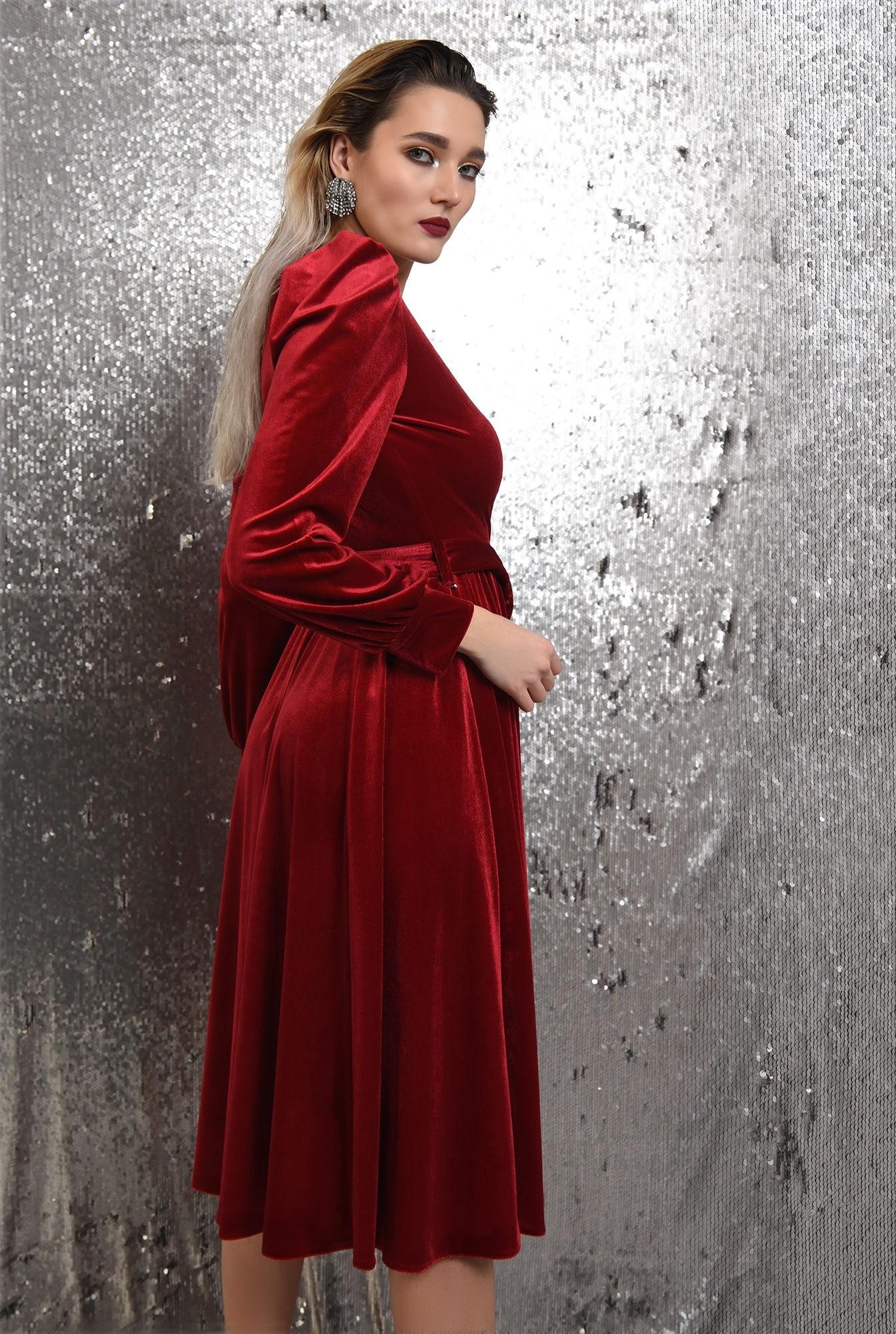 1 - rochie rosie, de catifea, eleganta, cu cordon, maneci bufante, Poema