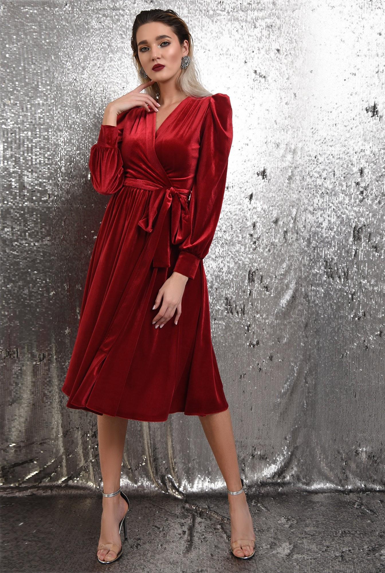 3 - rochie rosie, de catifea, eleganta, cu cordon, maneci bufante, Poema