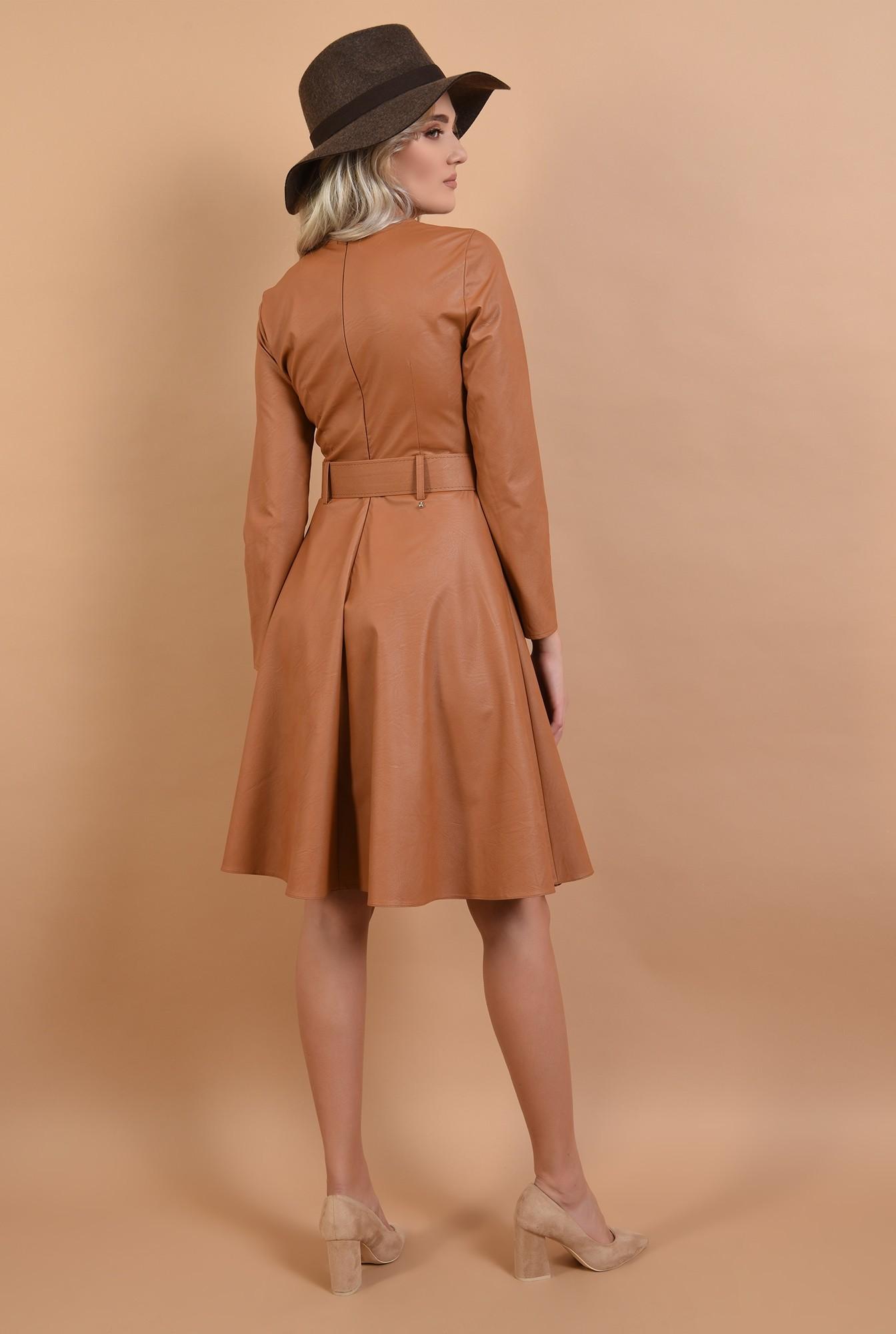 1 - rochie Poema, din piele, evazata, cu centura, midi