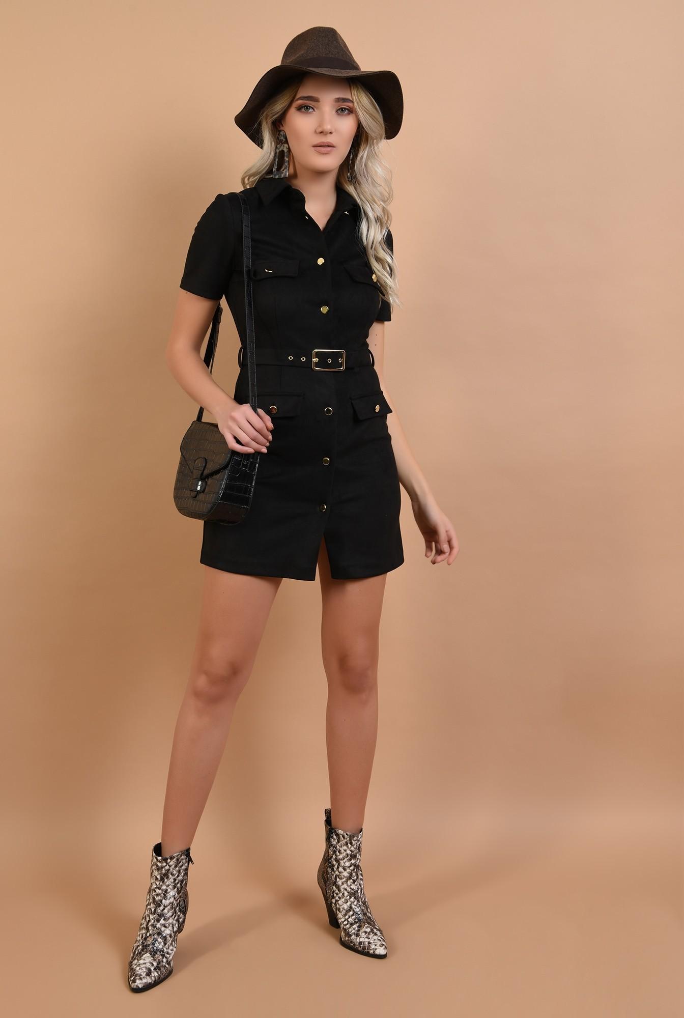 3 - rochie neagra, mini, cu nasturi, cu curea, maneci scurte