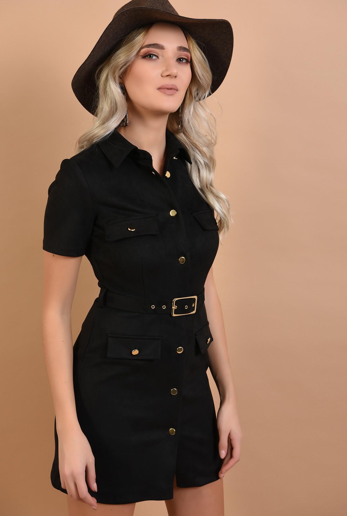0 - rochie neagra, mini, cu nasturi, cu curea, maneci scurte