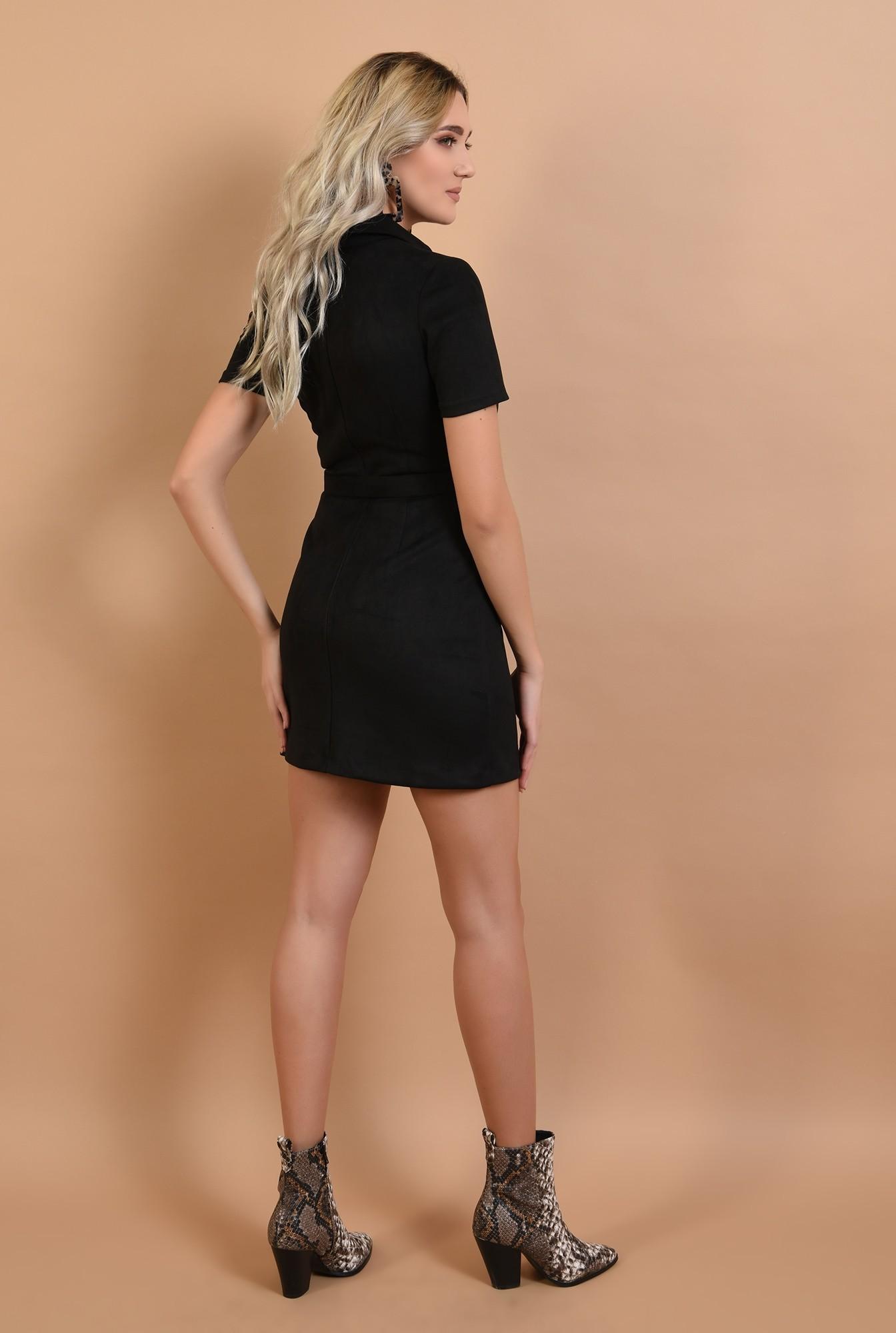 1 - rochie neagra, mini, cu nasturi, cu curea, maneci scurte
