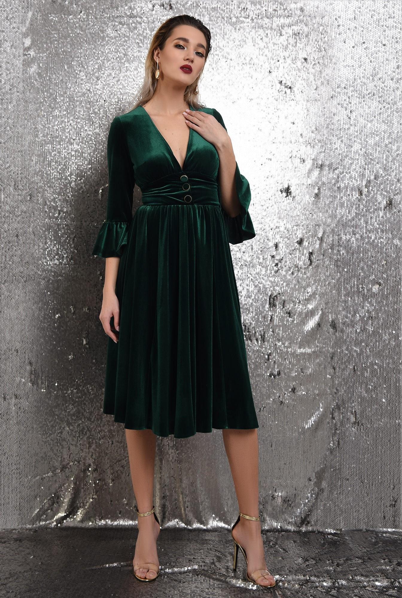 3 -  360 - rochie verde, midi, clos, catifea, maneci peplum, Poema
