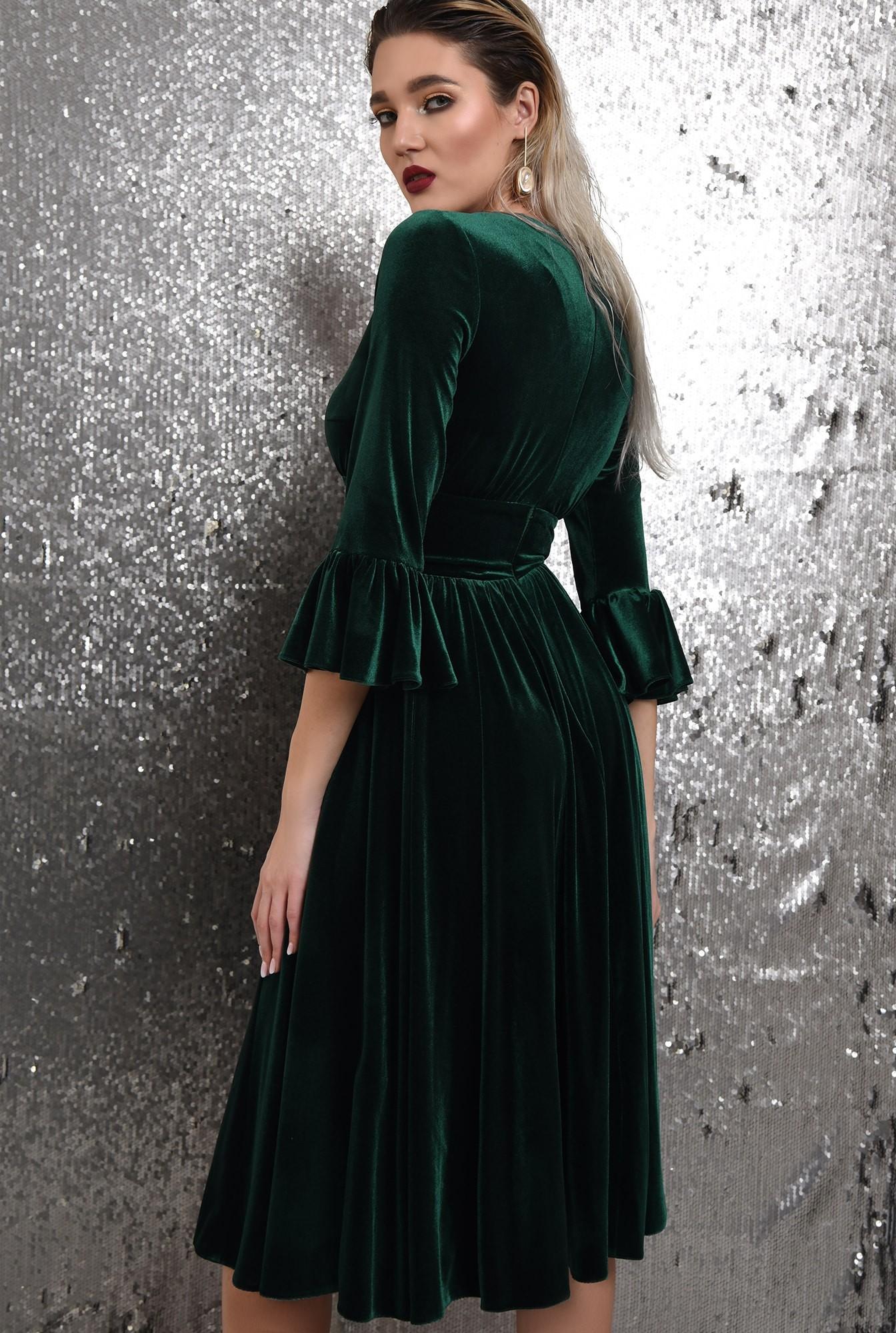 1 -  360 - rochie verde, midi, clos, catifea, maneci peplum, Poema