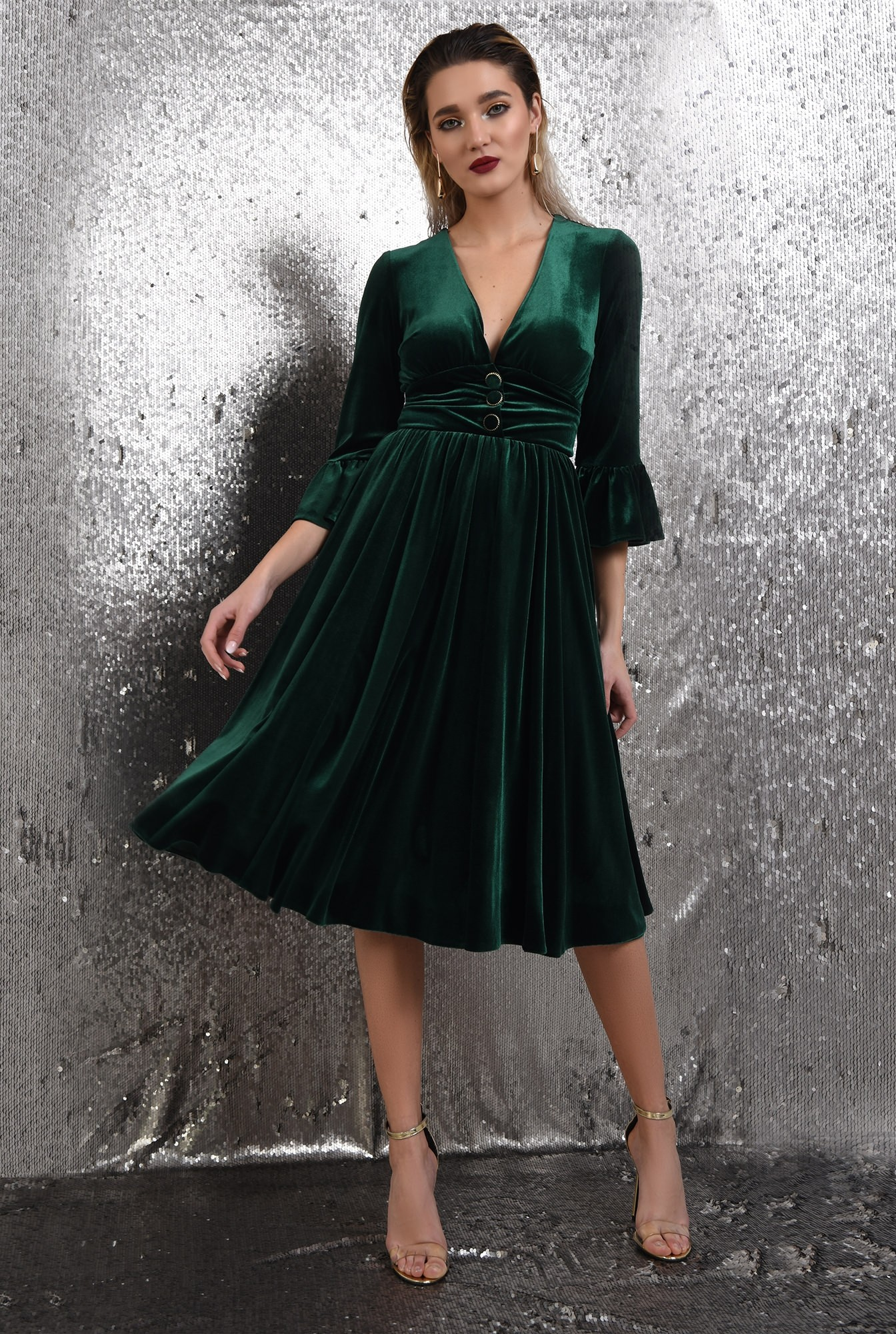 0 -  360 - rochie verde, midi, clos, catifea, maneci peplum, Poema