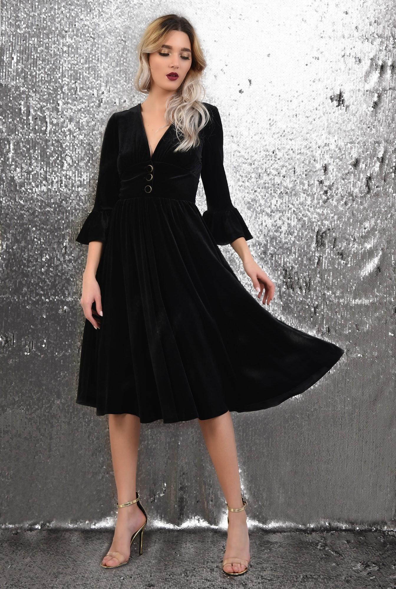 3 -  rochie eleganta, din catifea, midi, evazata, maneci peplum