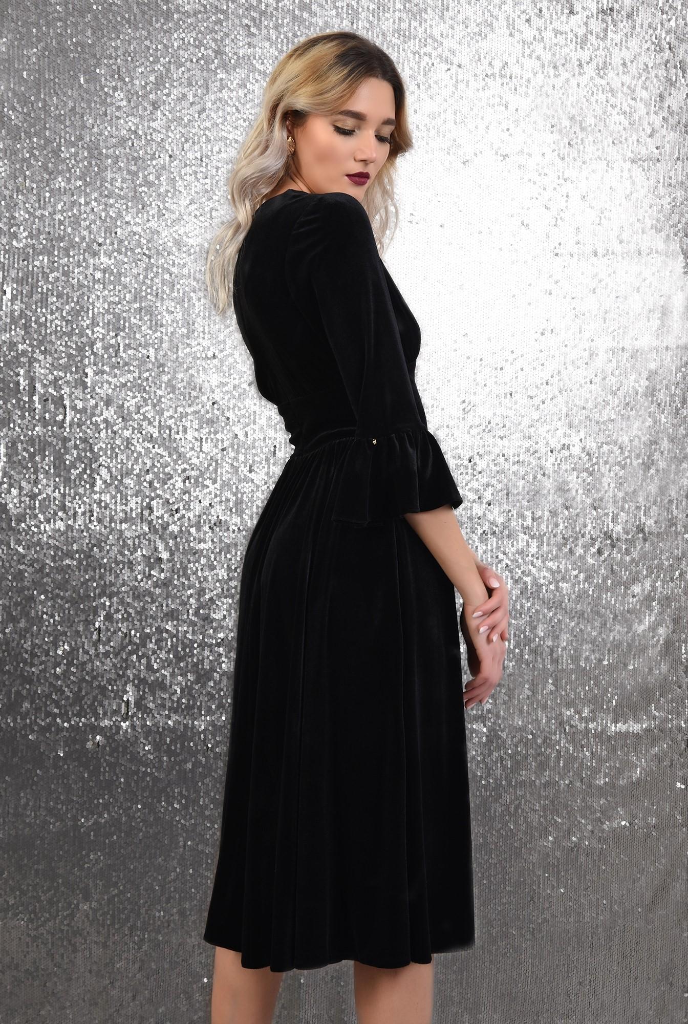 1 -  rochie eleganta, din catifea, midi, evazata, maneci peplum