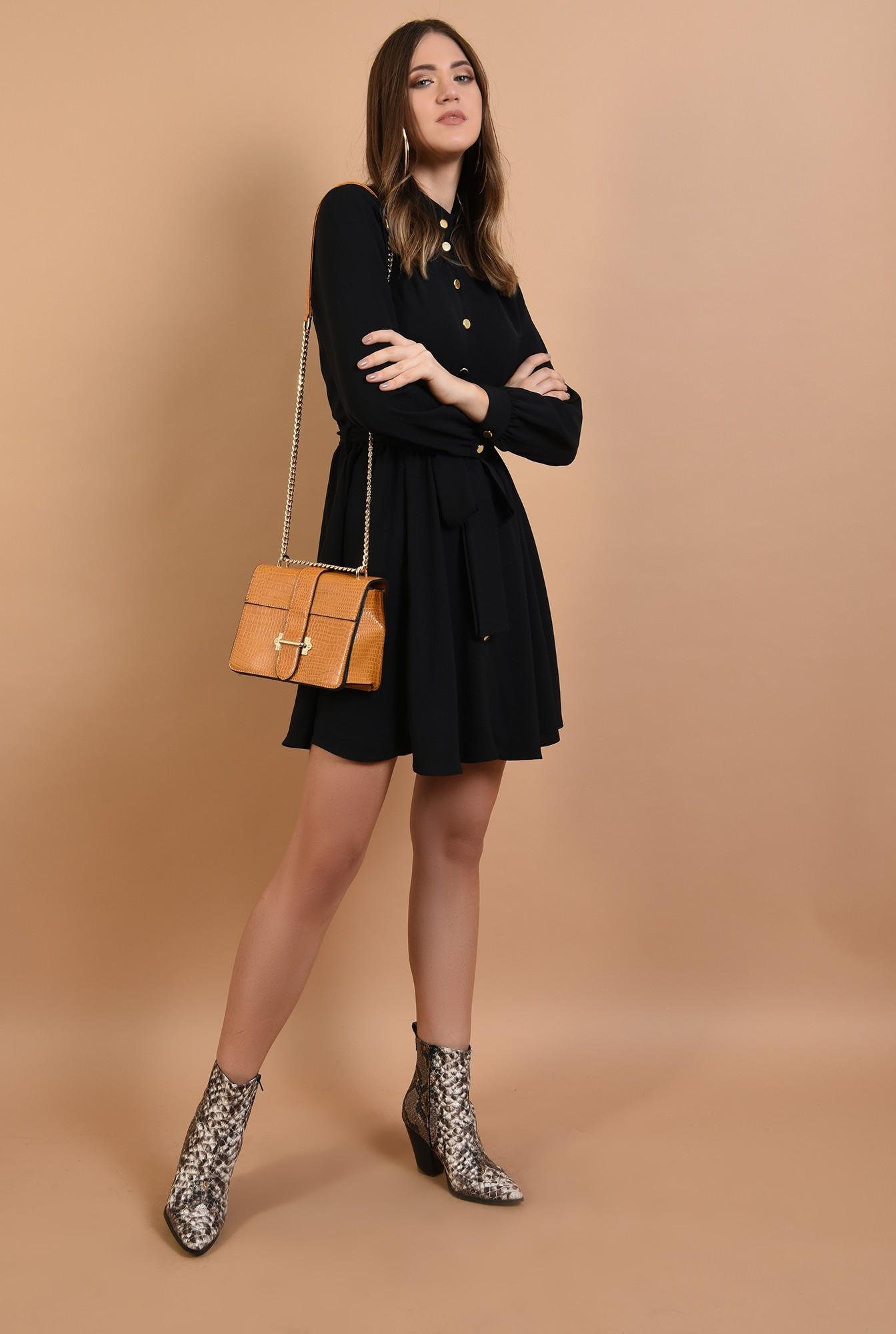 3 - rochie neagra, scurta, cu nasturi, cordon, Poema