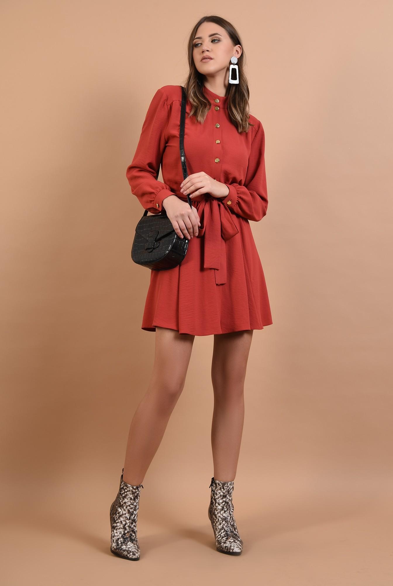 3 - rochie rosu, casual, croi clos, cu cordon, nasturi aurii