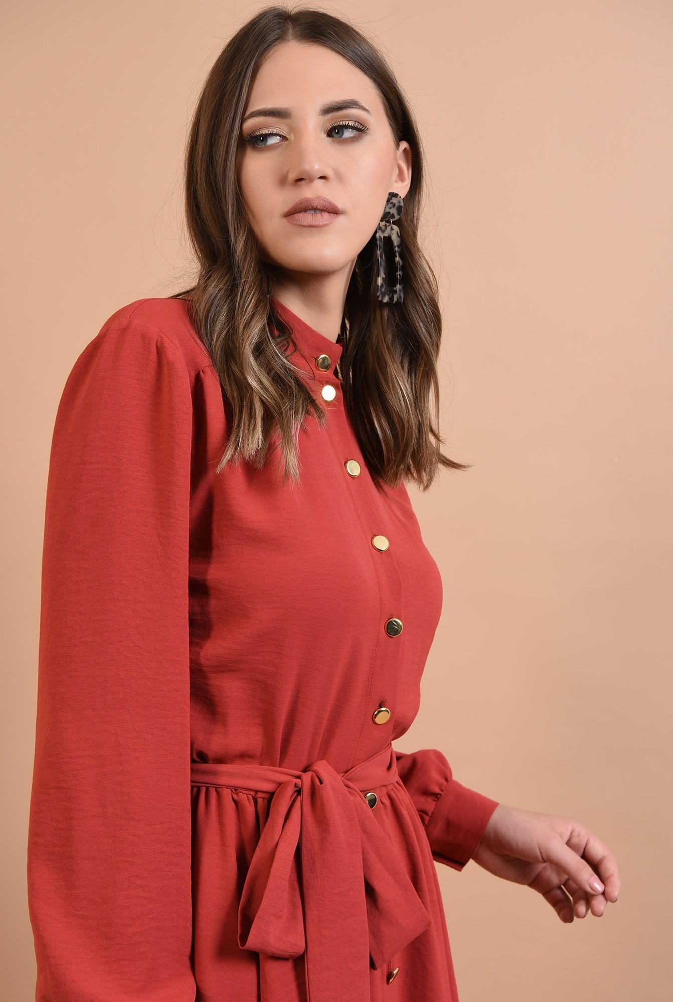 2 - rochie rosu, casual, croi clos, cu cordon, nasturi aurii