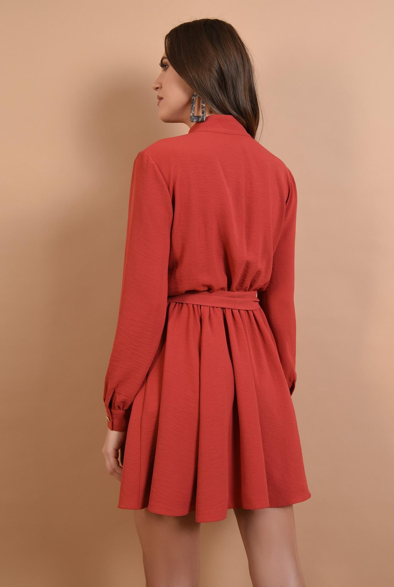 1 - rochie rosu, casual, croi clos, cu cordon, nasturi aurii