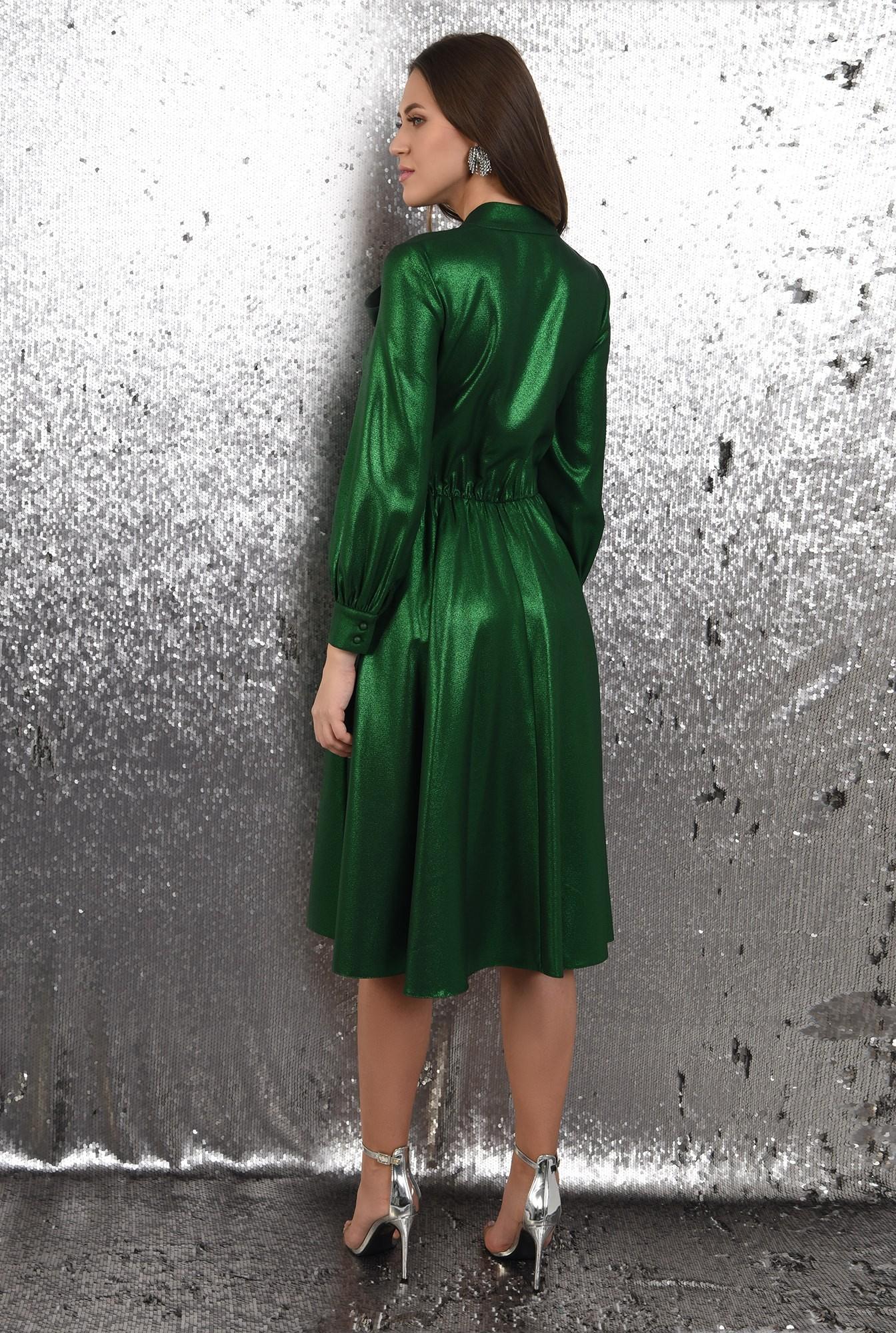 1 - rochie verde, midi, evazata, funda la gat, Poema