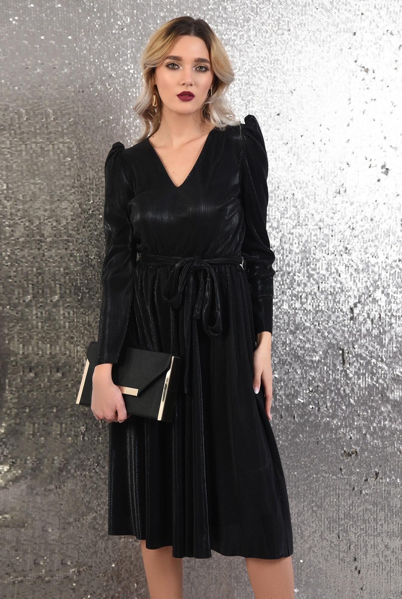 0 -  rochie neagra, eleganta, Poema, lurex creponat, anchior, funda la talie