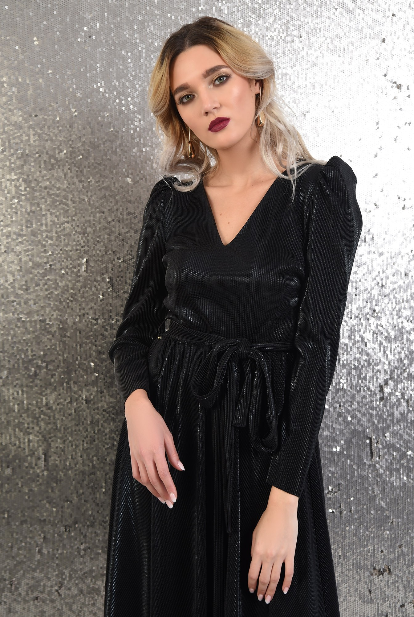 2 -  rochie neagra, eleganta, Poema, lurex creponat, anchior, funda la talie