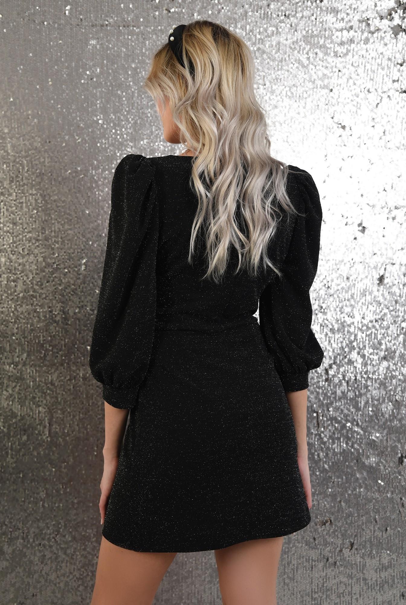 1 - rochie neagra, de ocazie, cu sclipici, anchior, maneci bufante