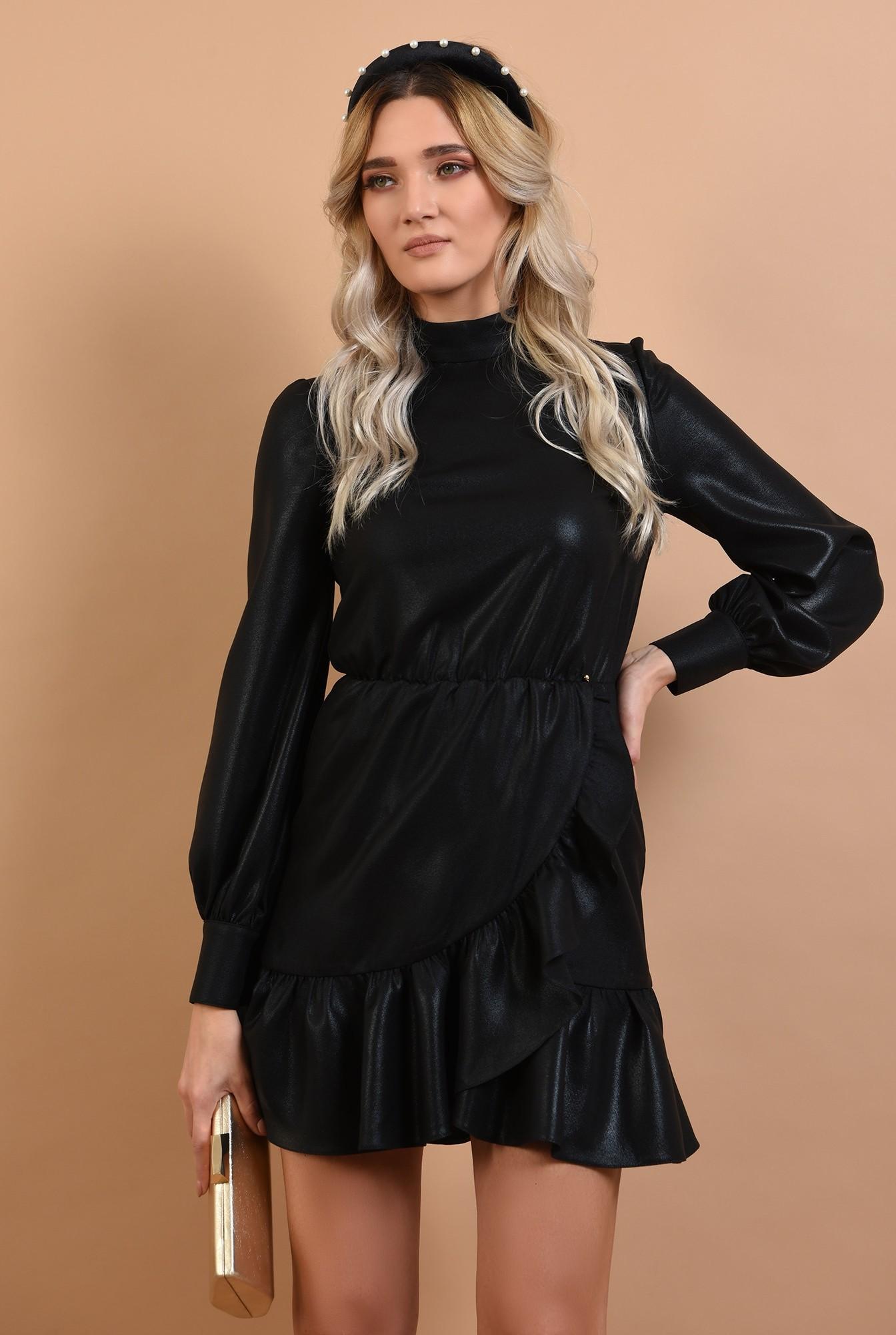 0 - 360 - rochie neagra, de ocazie, croi petrecut, nasturi la spate, Poema