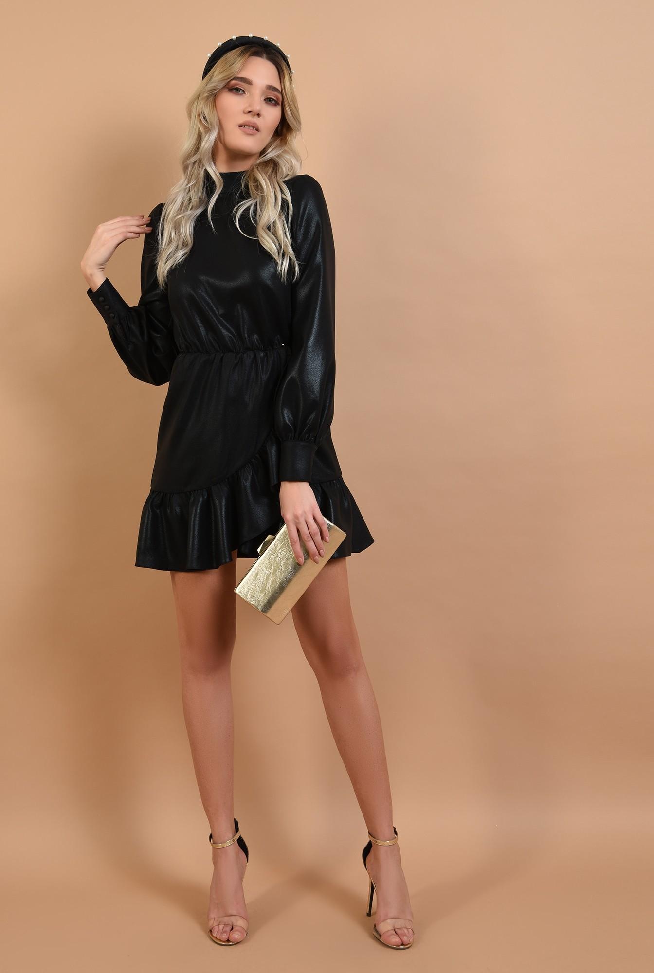 3 - 360 - rochie neagra, de ocazie, croi petrecut, nasturi la spate, Poema