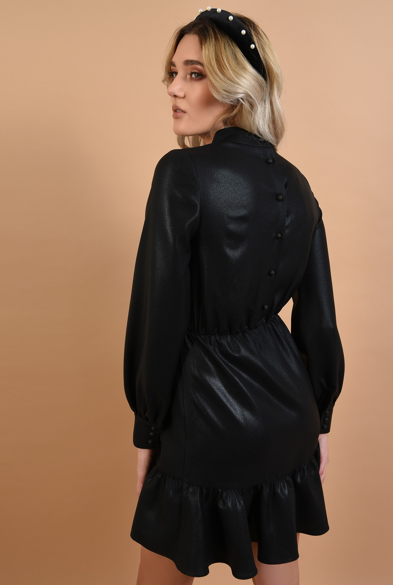 1 - 360 - rochie neagra, de ocazie, croi petrecut, nasturi la spate, Poema