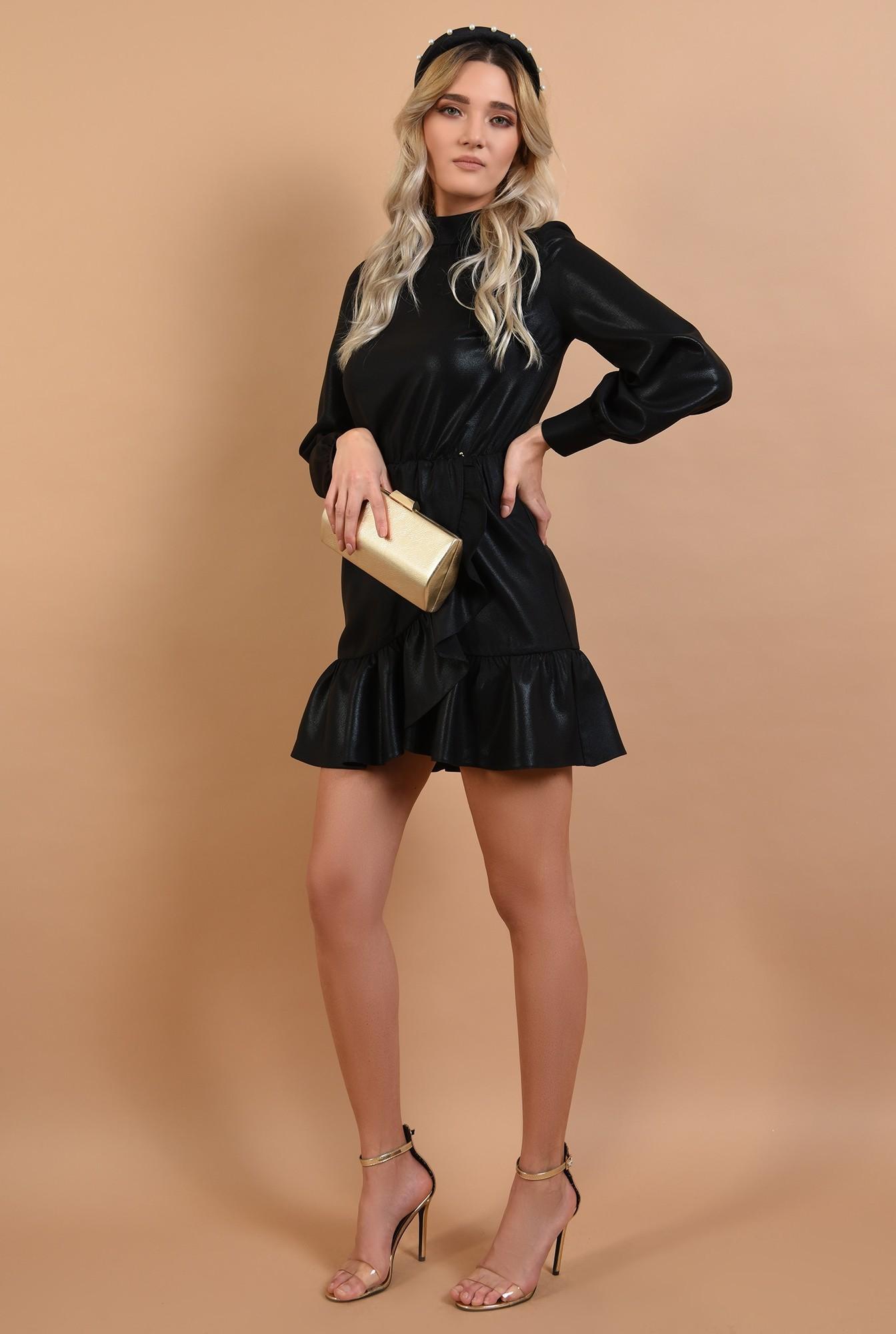 2 - 360 - rochie neagra, de ocazie, croi petrecut, nasturi la spate, Poema