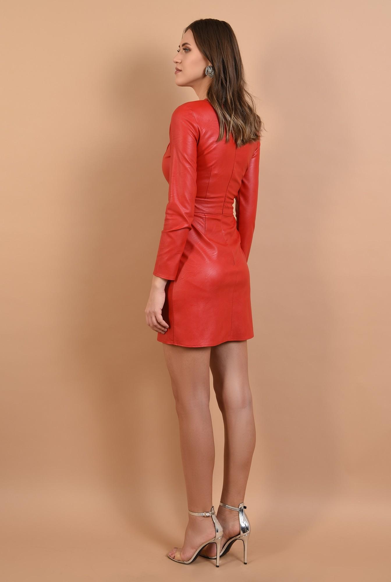 1 - 360 -  rochie eleganta, din piele, mini, cambrata, Poema