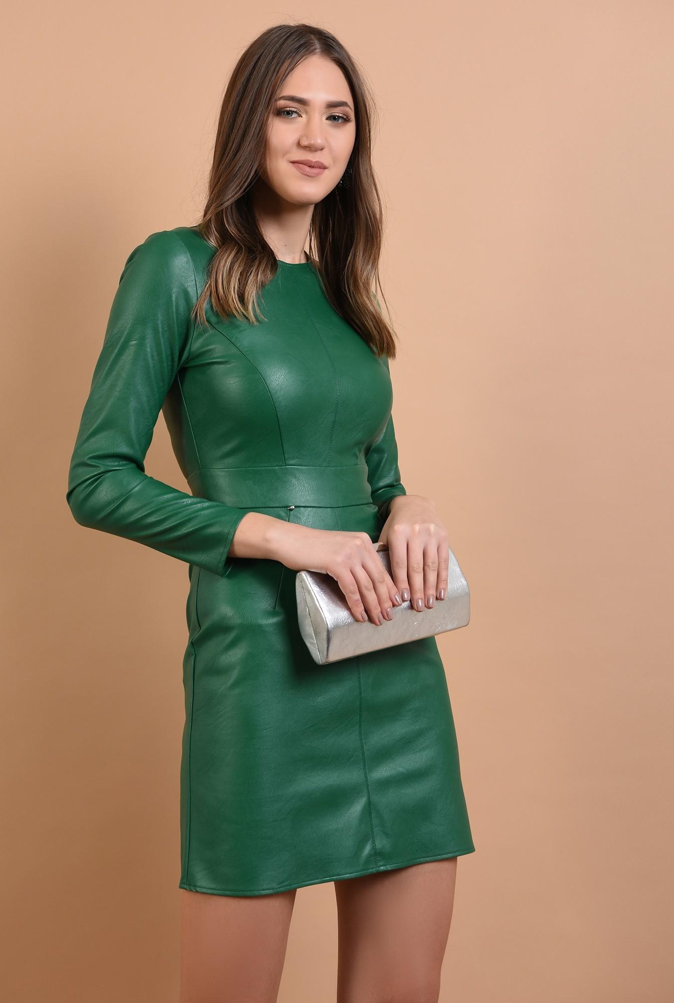 0 -  rochie eleganta, din piele, mini, cambrata, Poema